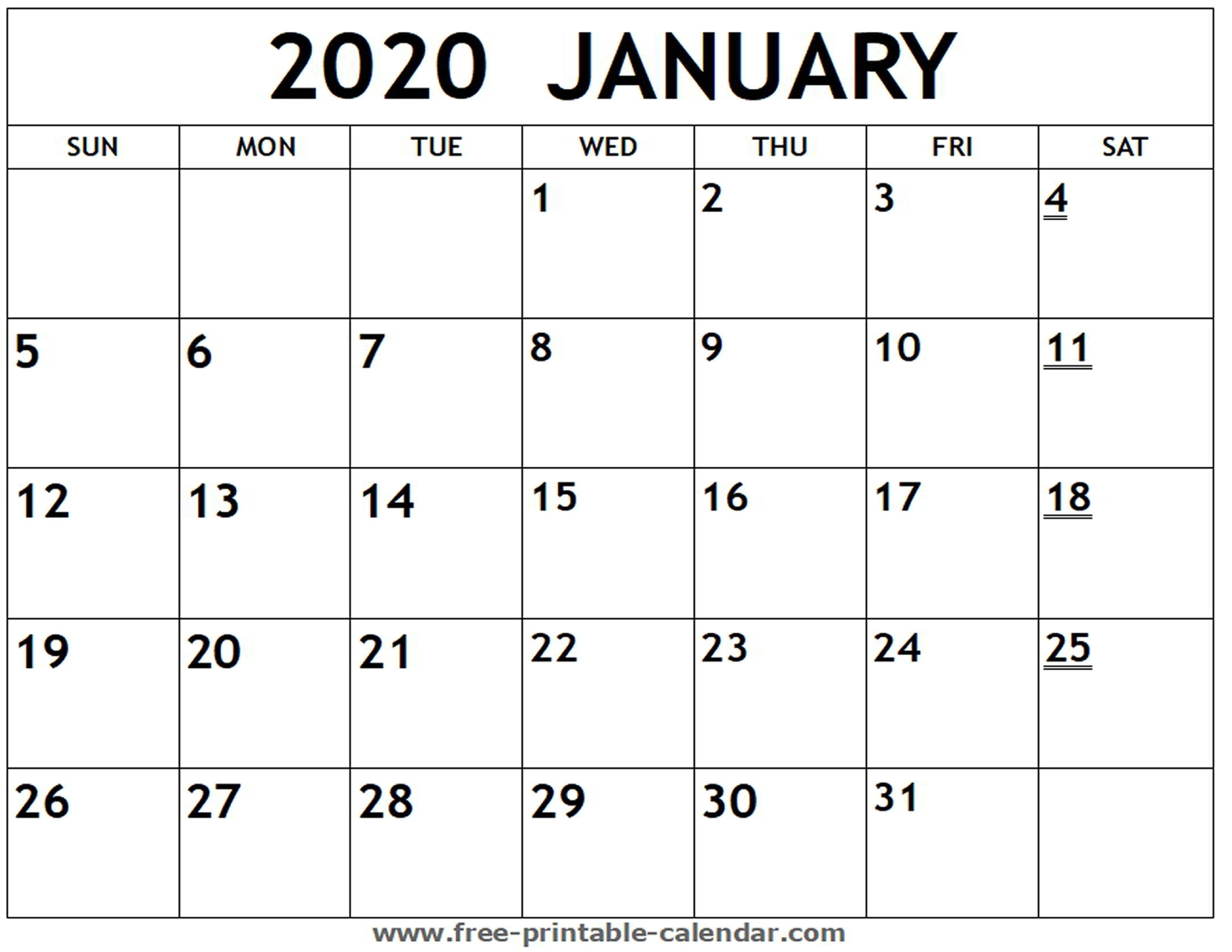 Printable 2020 January Calendar - Free-Printable-Calendar with regard to Free Printable Monthly Calendar For Year 2020