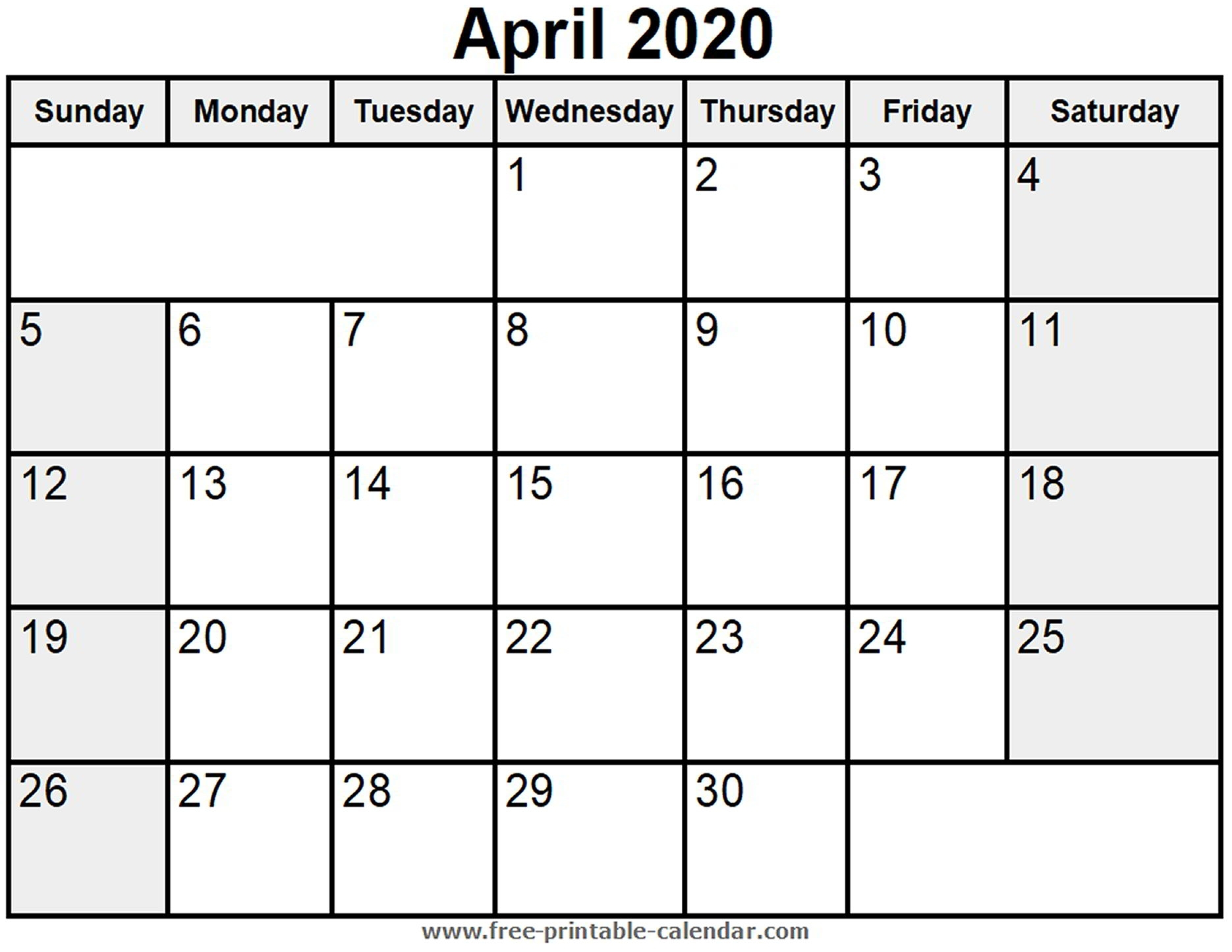 Printable April 2020 Calendar - Free-Printable-Calendar in Printable Calendar 2020 Monthly With Holidays