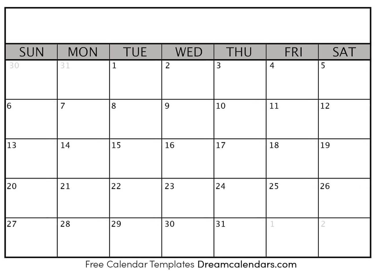 Printable Blank Calendar 2020 | Dream Calendars within Calender 2020 With Space To Write
