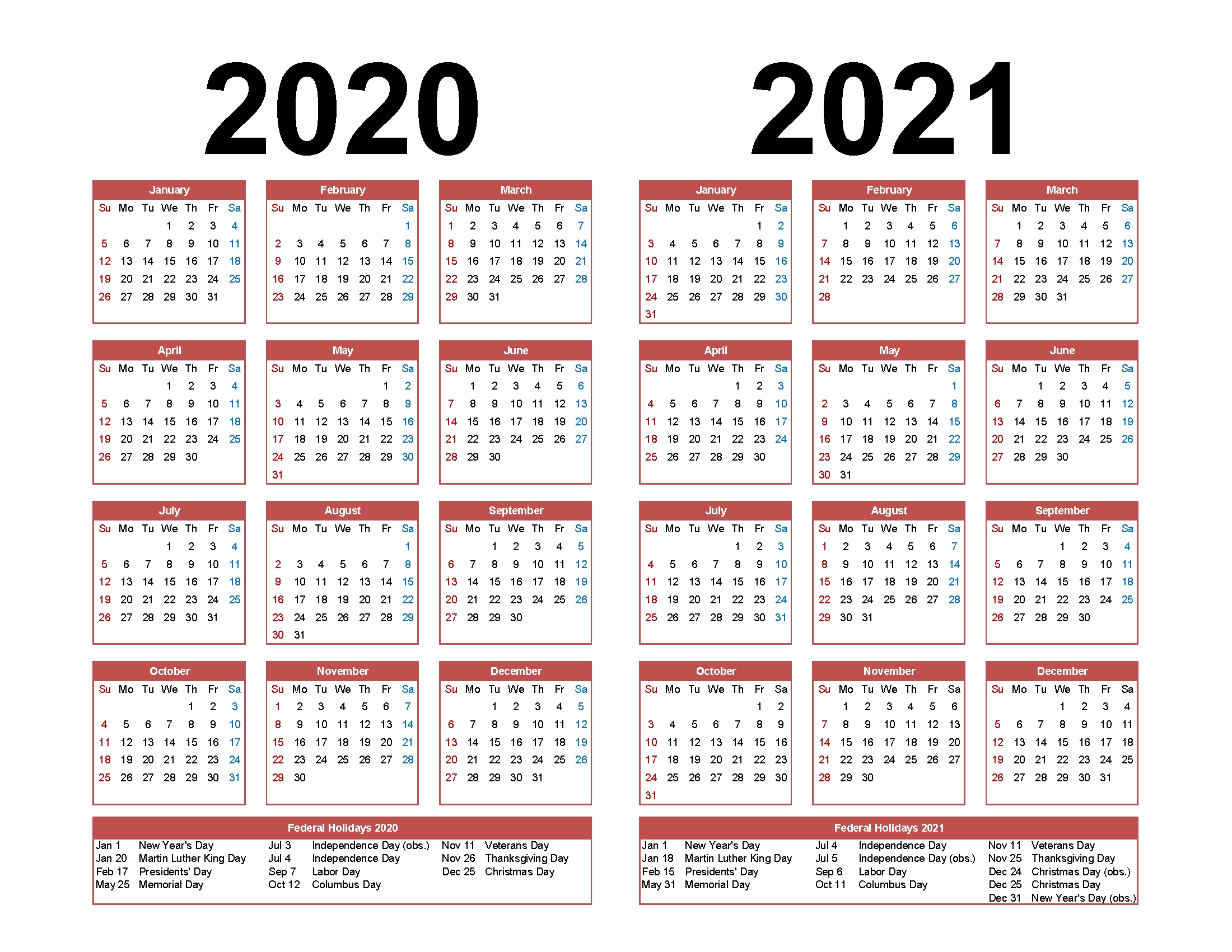 Printable Calendar 2020 2021 Two Year Per Page Free Pdf intended for Printable Calendar Or 2020 And 2021 Monday To Sunday