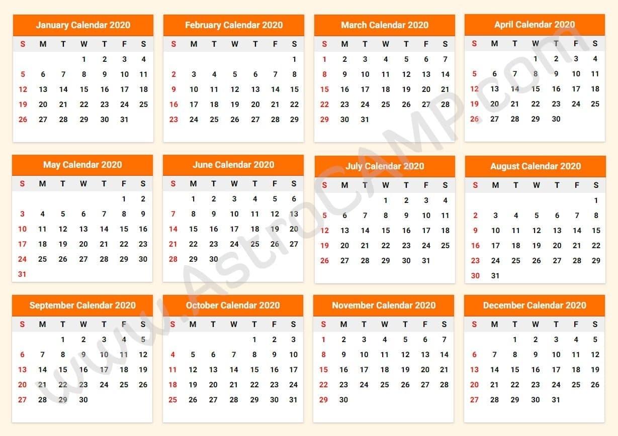 Printable Calendar 2020: Download Free Printable Calendar intended for Free Printable Liturgical Calendar For 2020