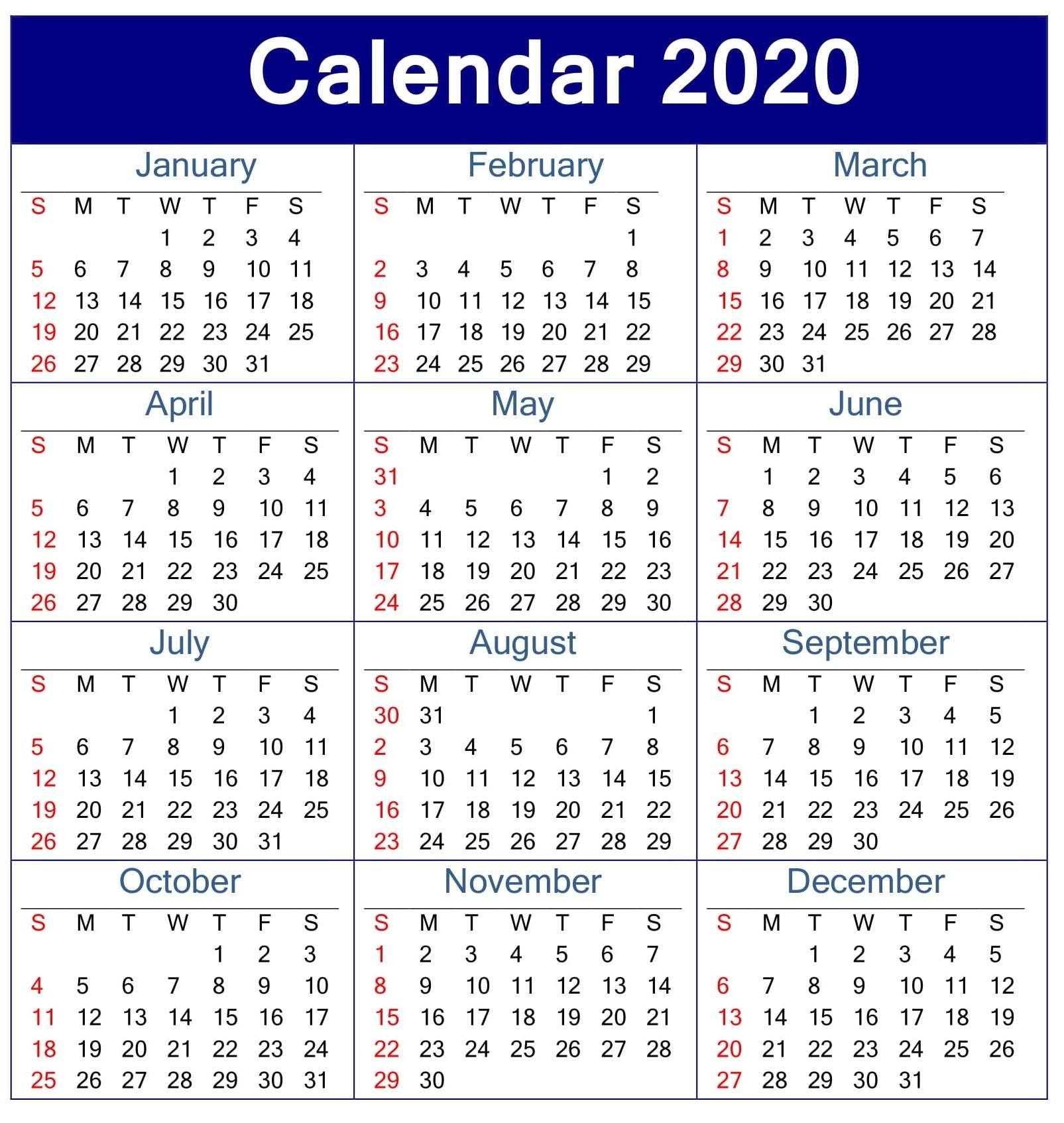 Printable Calendar 2020 Pdf Template – Free Latest Calendar intended for 2020 Employee Attendance Calendar Printable