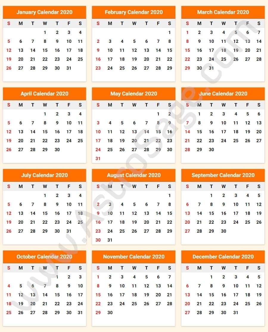 Printable Calendar 2020 With Holidays - Download Free regarding 2020 Year Calendar Printable Free Bangla