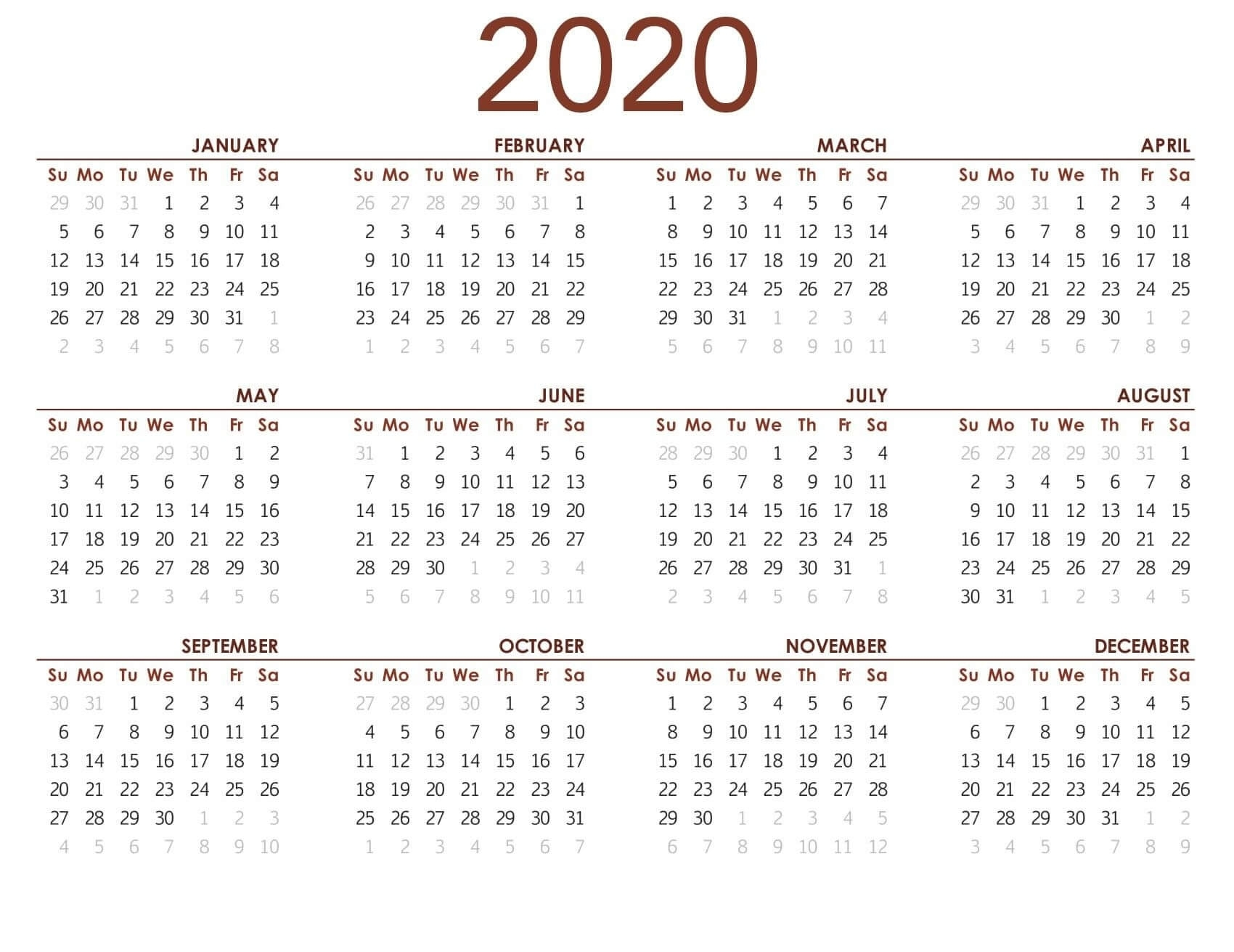 Printable Calendar 2020 With Notes - 2019 Calendars For with Year At A Glance Calendar 2020 With Holiday Free Printable