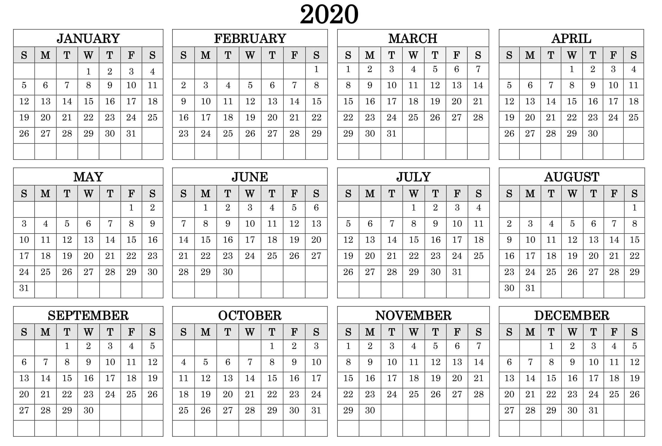 Printable Calendar Year 2020 Holidays Fillable Pdf - Set with regard to Year At A Glance Calendar 2020 With Holiday Free Printable