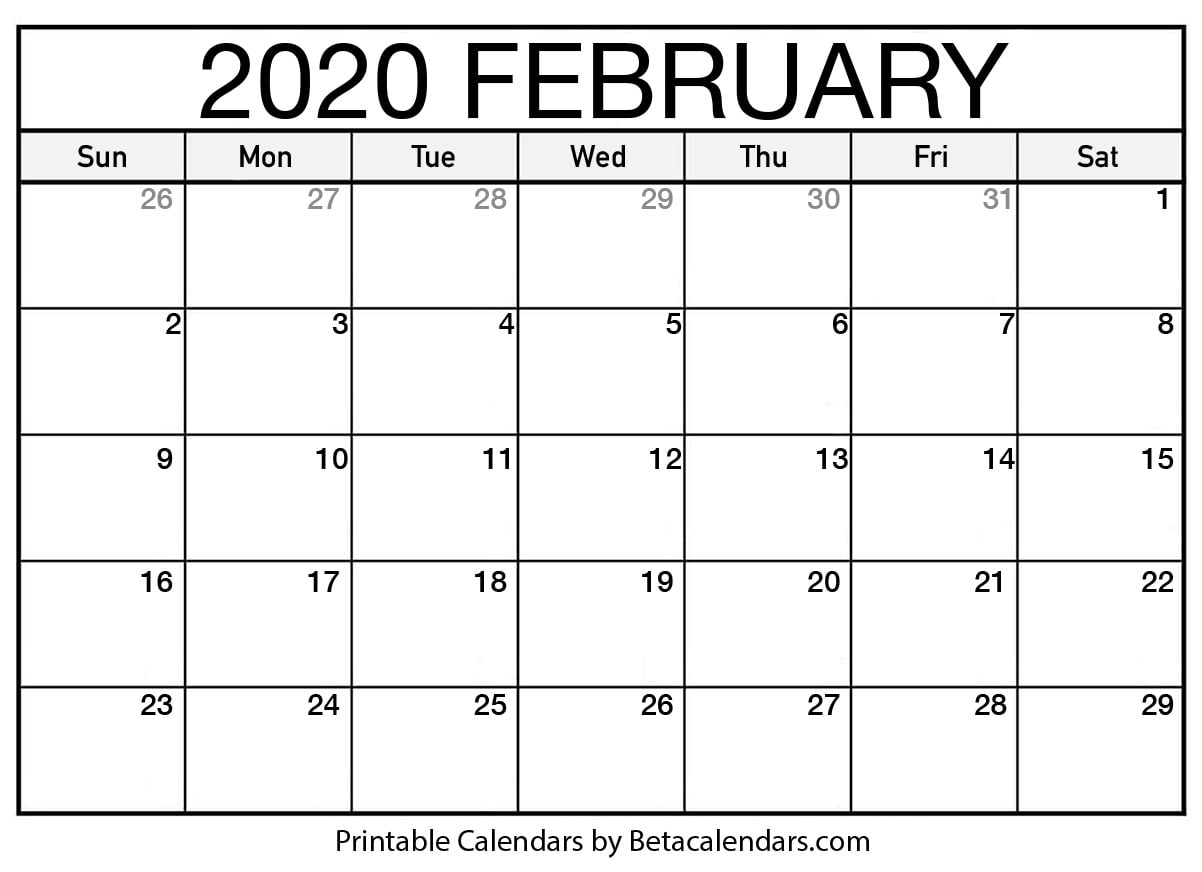 Printable February 2020 Calendar - Beta Calendars in February 2020 Calender That I Can Fill In