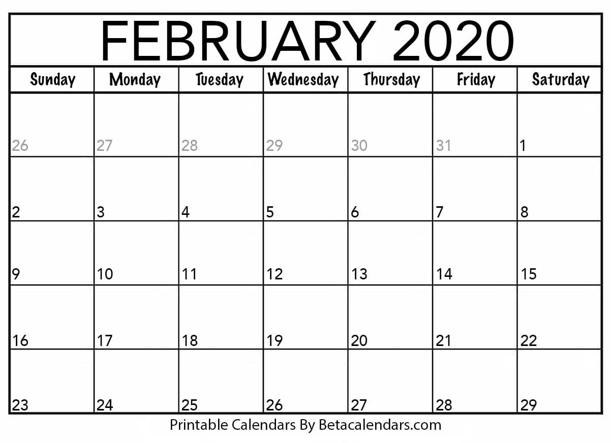 Printable February 2020 Calendar - Beta Calendars intended for Bc Free 2020 At A Glance Calendar