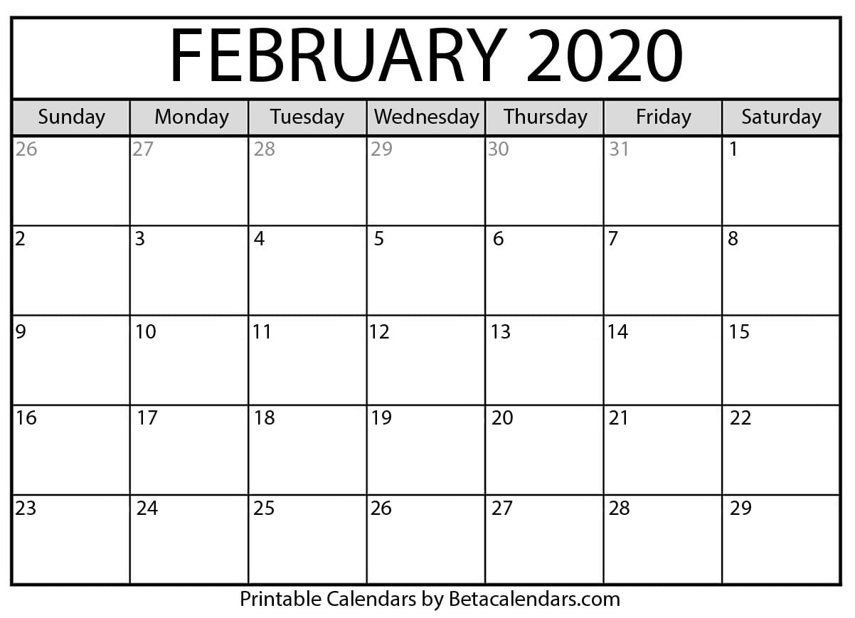 Printable February 2020 Calendar - Beta Calendars with regard to Bc Free 2020 At A Glance Calendar