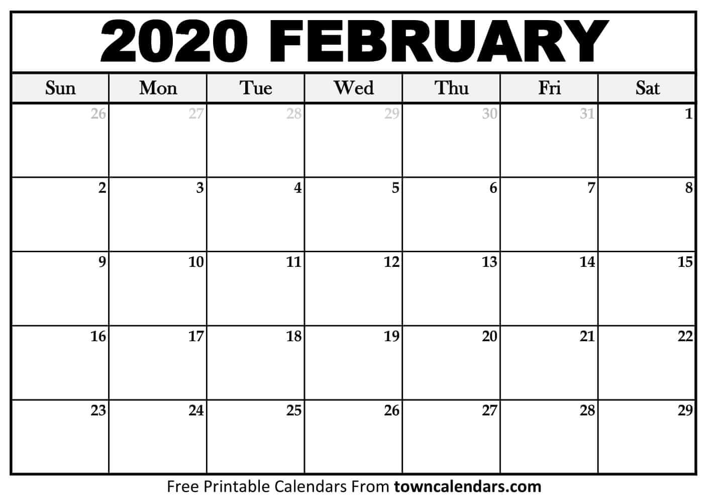 Printable February 2020 Calendar - Towncalendars pertaining to February 2020 Calender That I Can Fill In