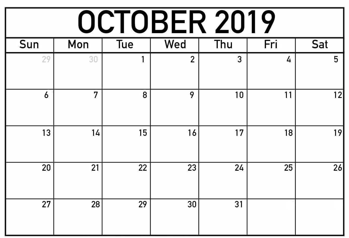 Printable Fillable Calendar For October 2019 | October within Printable Fill In Calendar 2019