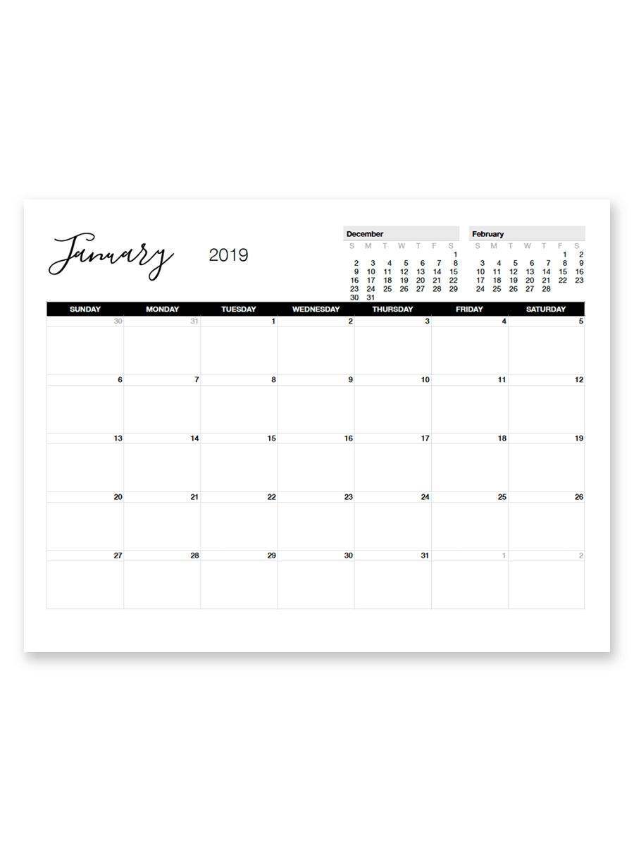 Printable January 2019 Calendar | Printable Calendar inside 8.5 X 11 Calendar Template