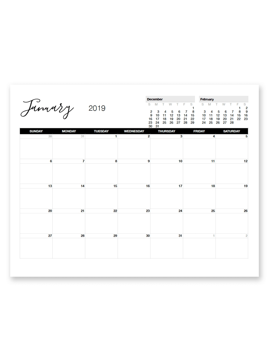 Printable January 2019 Calendar | Printable Calendar regarding 8.5 X 11 Printable Calendars