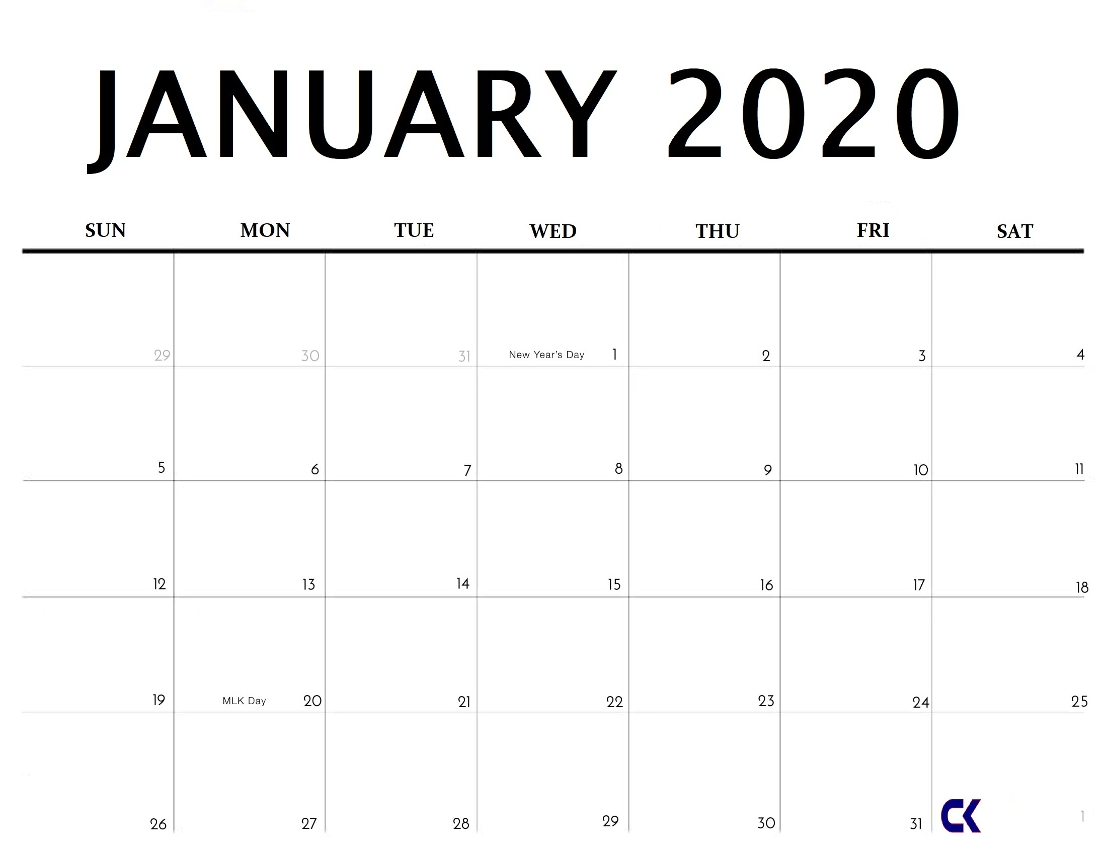 Printable January 2020 Calendar - regarding Calendars To Print Free With Space To Write