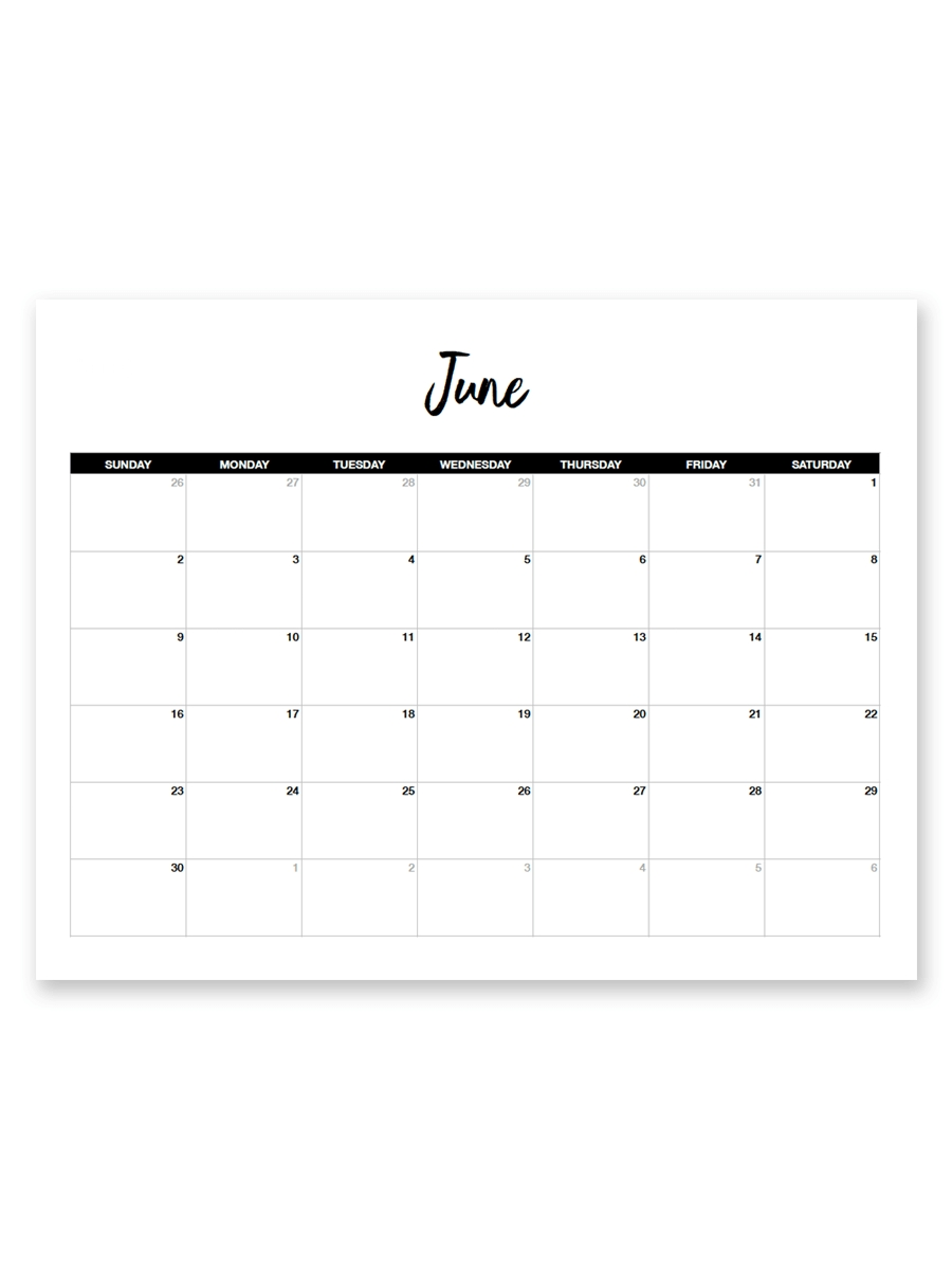 Printable June 2019 Calendar (Minimal with Free 8.5 X 11 Calendars