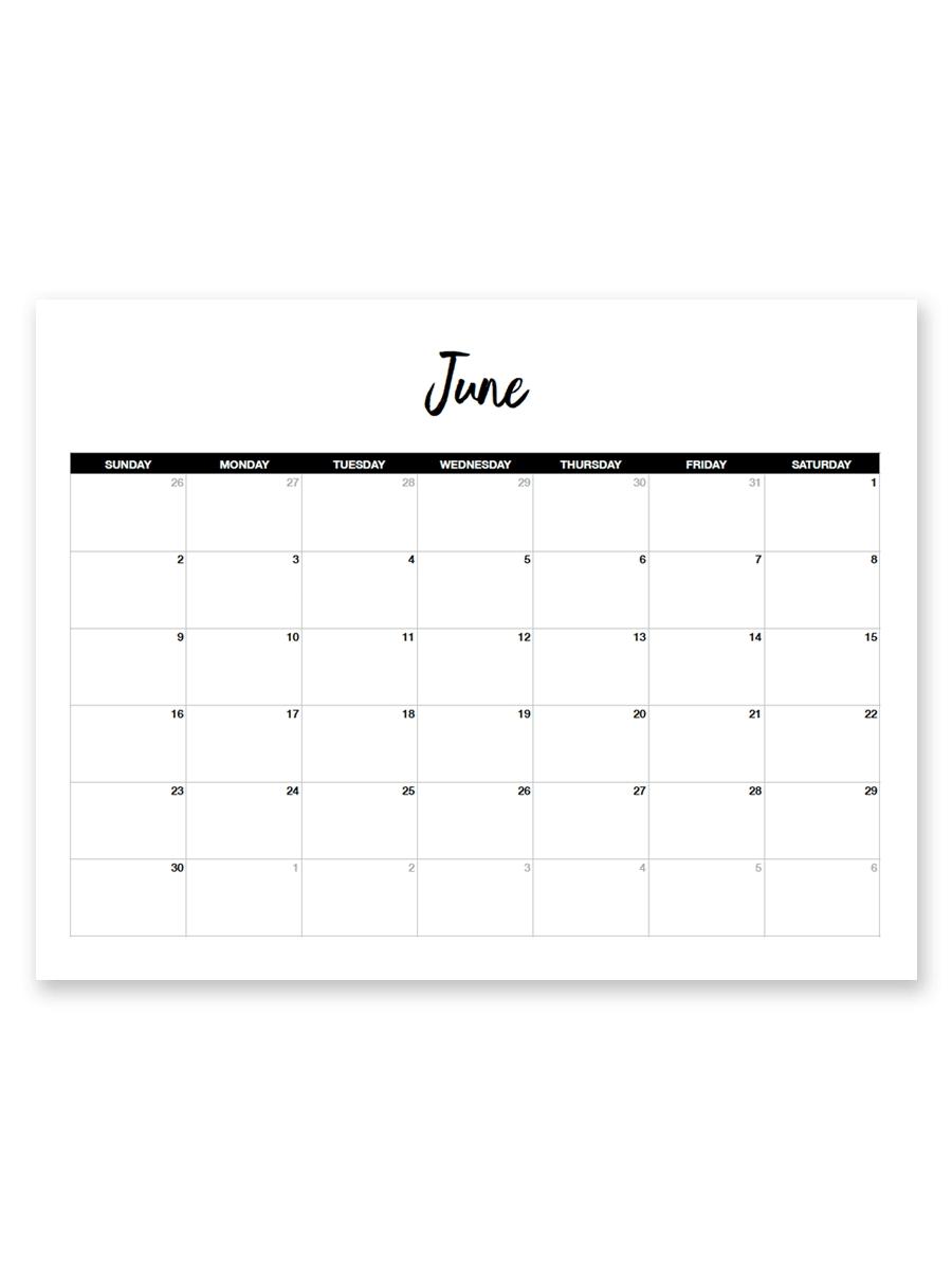 Printable June 2019 Calendar (Minimal with Free 8.5 X 11 Calendars