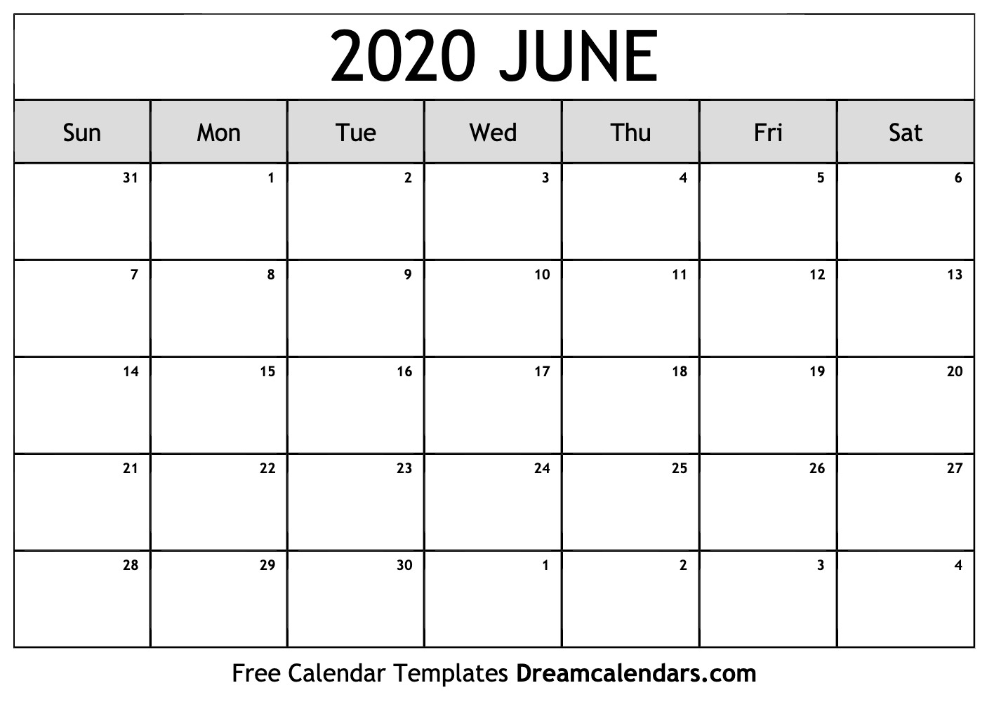 Printable June 2020 Calendar intended for Special Days In June 2020