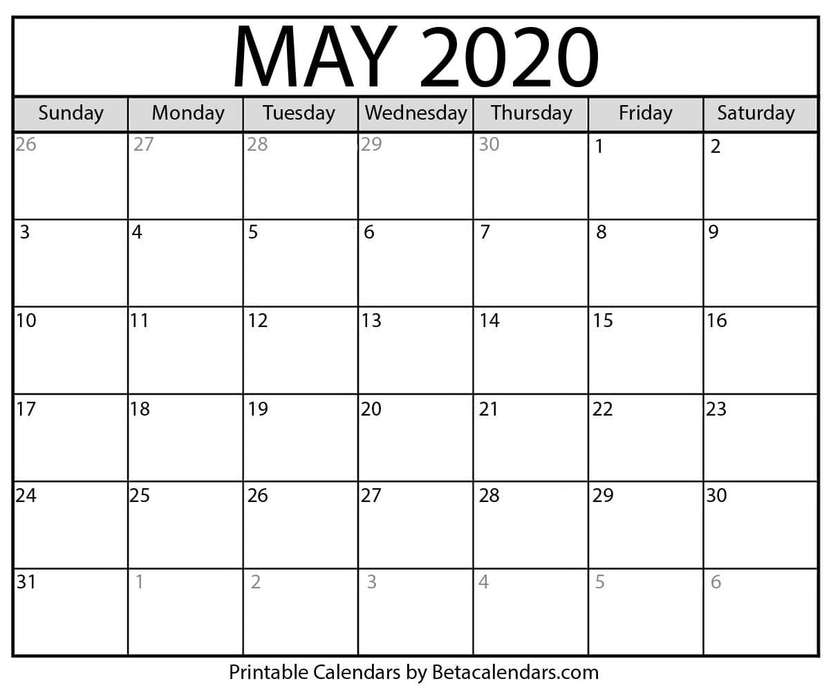Printable May 2020 Calendar - Beta Calendars intended for Blank Fill In Calendar 2020