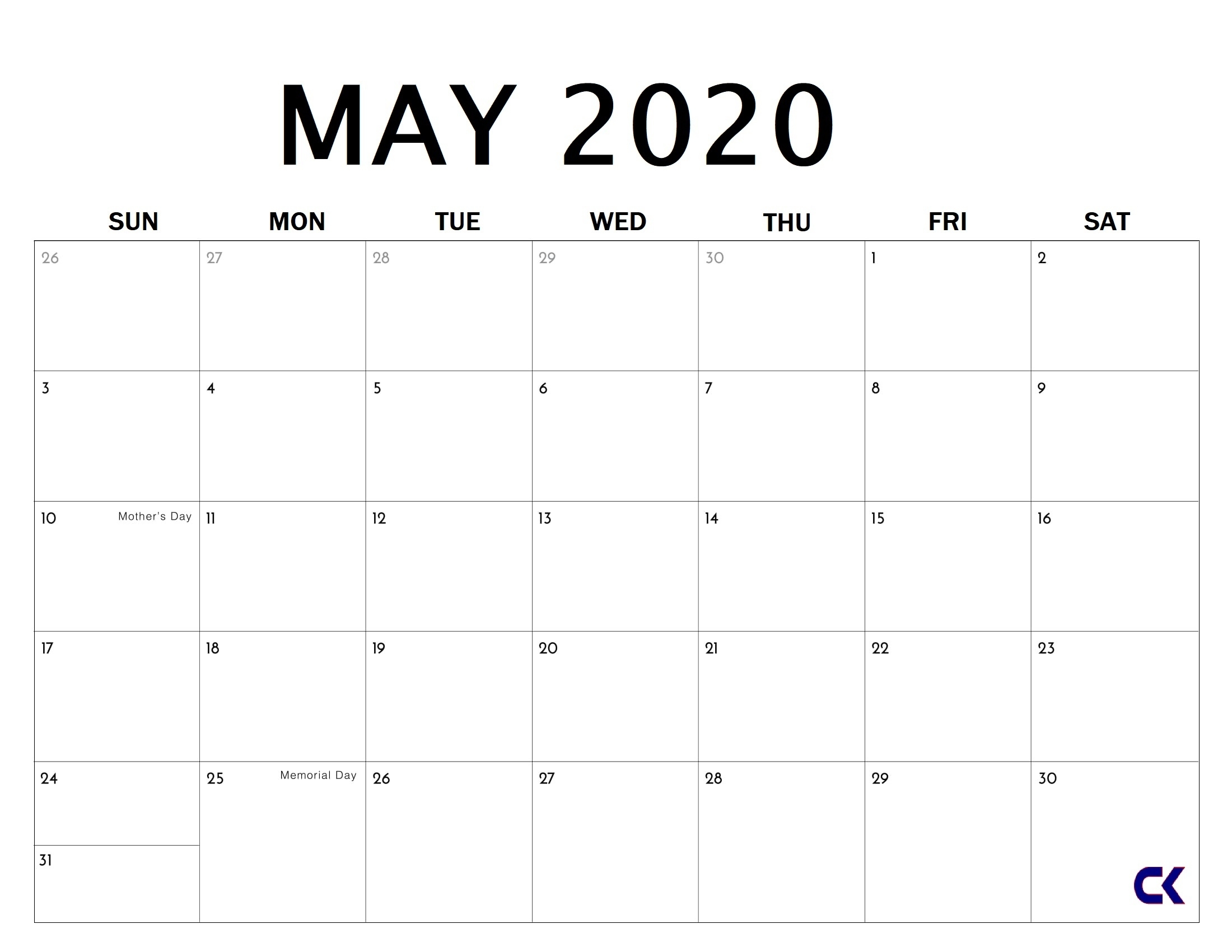 Printable May 2020 Calendar - throughout Free Weekly Catholic Calendar 2020