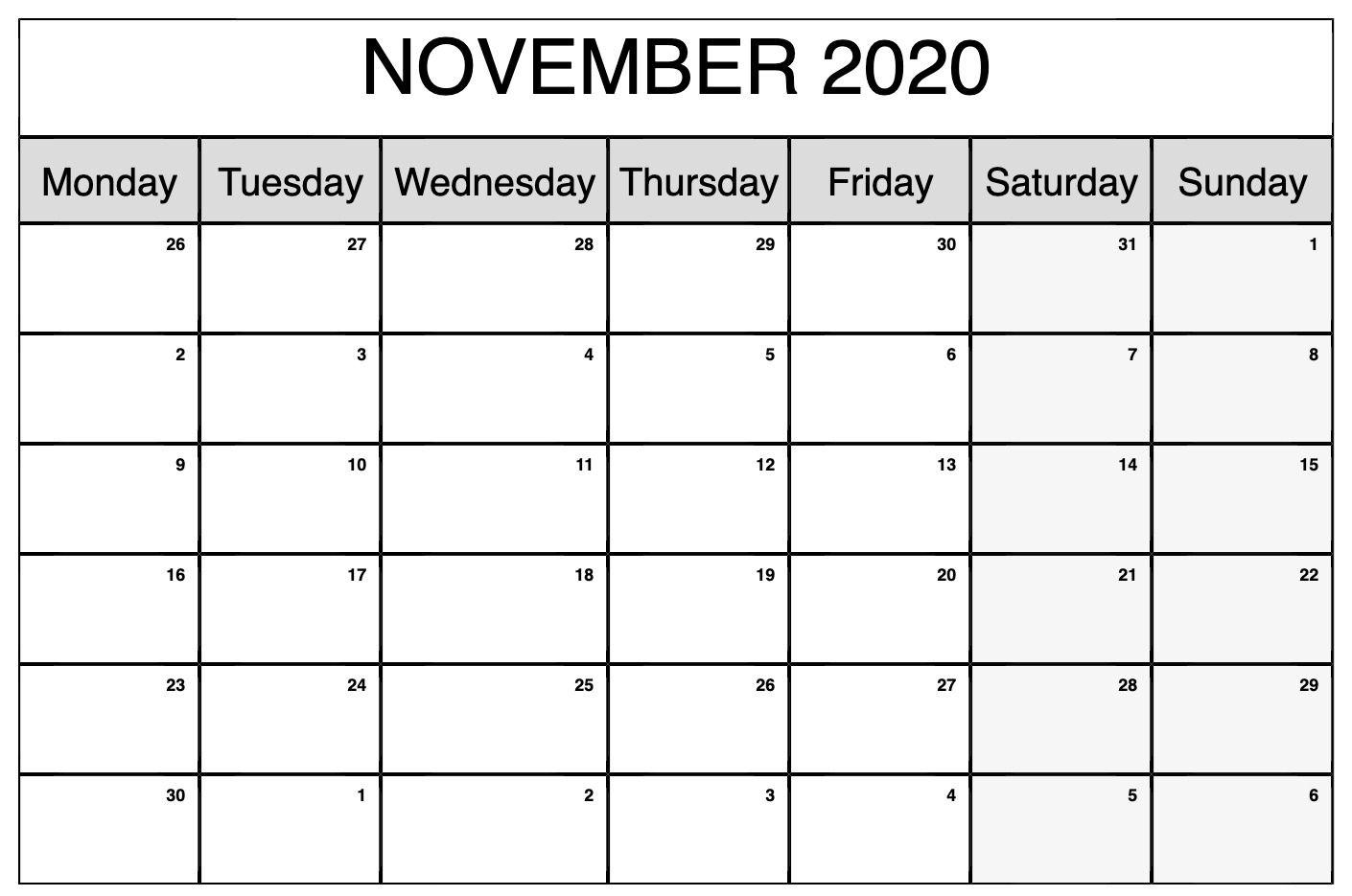 Printable November 2020 Calendar | Calendar, Custom Calendar for 2020 Monthly Calendar Monday Start Printable
