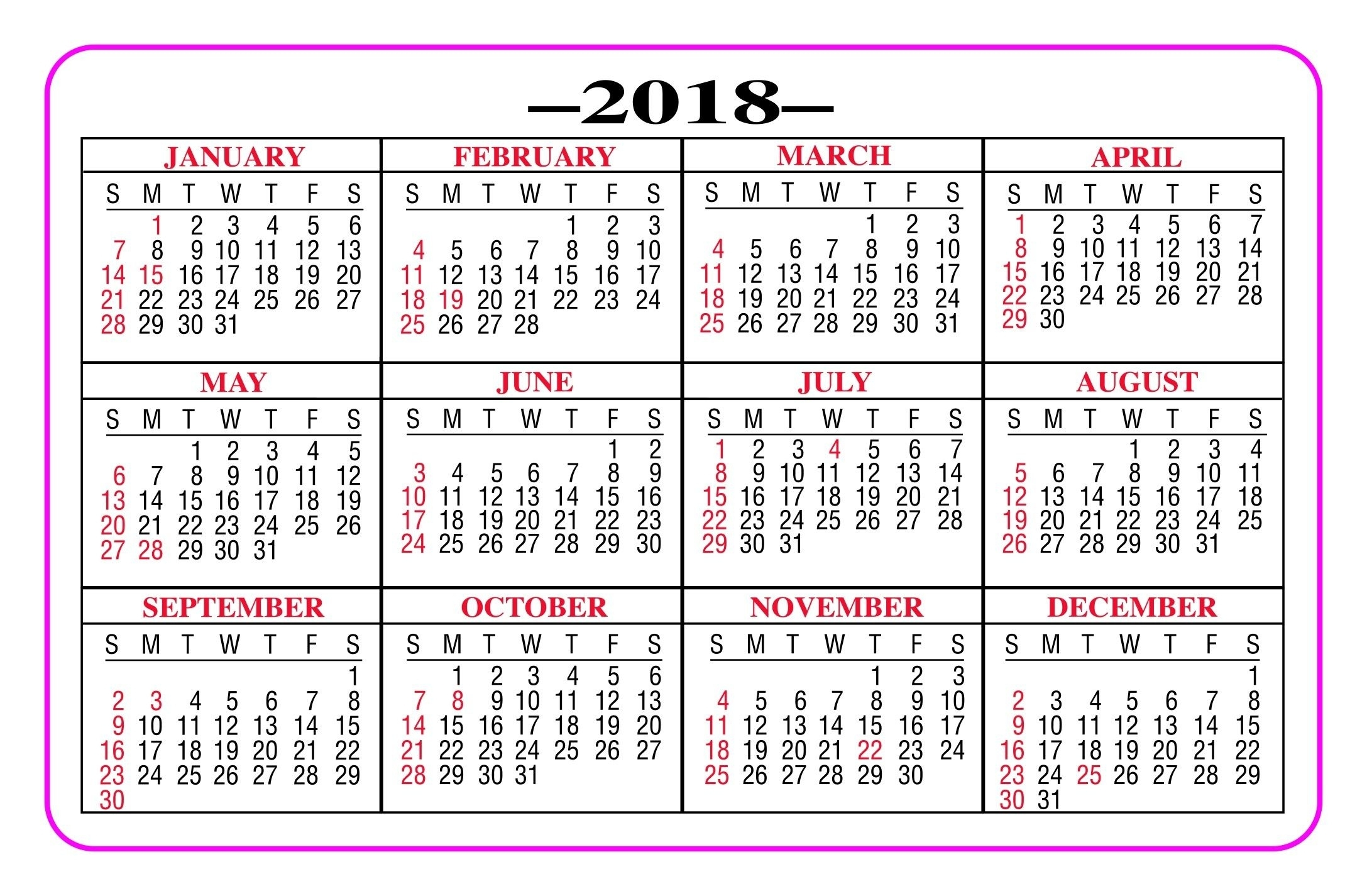 Printable Pocket Calendar 2018 - Yeniscale.co Full Year inside Free Printable Pocket Calendar 2020