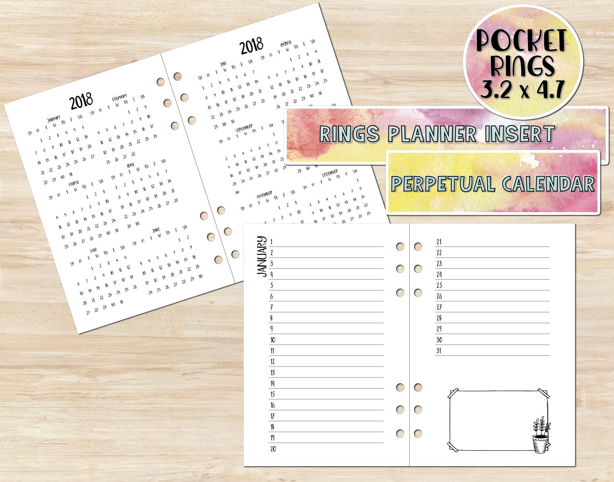 Printable Pocket Rings Insert - Printable Perpetual Calendar - Printable  Planner Insert - Perpetual Calendar Insert - Pocket Rings Insert in Free Printable Perpetual Medicine Calendar