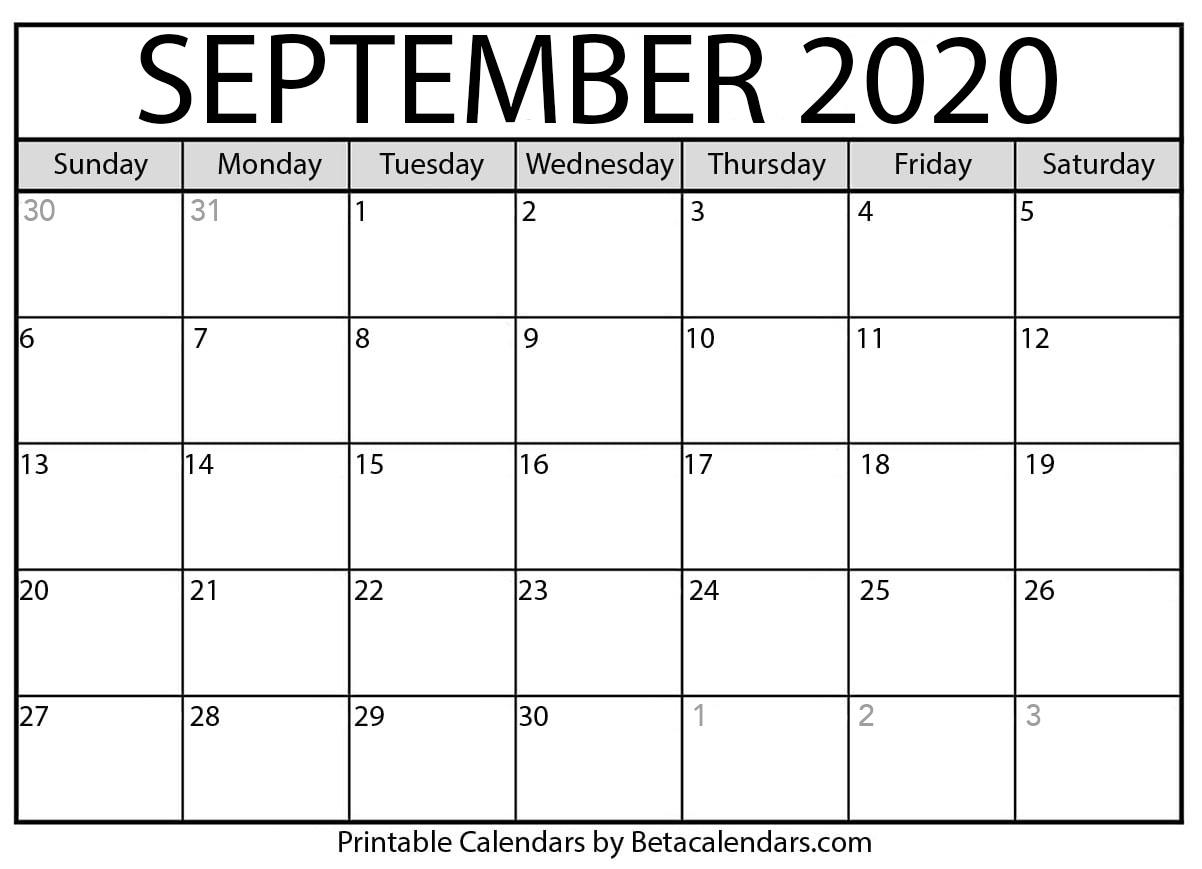 Printable September 2020 Calendar - Beta Calendars inside Calendar September 2020 Start Monday Printable Free