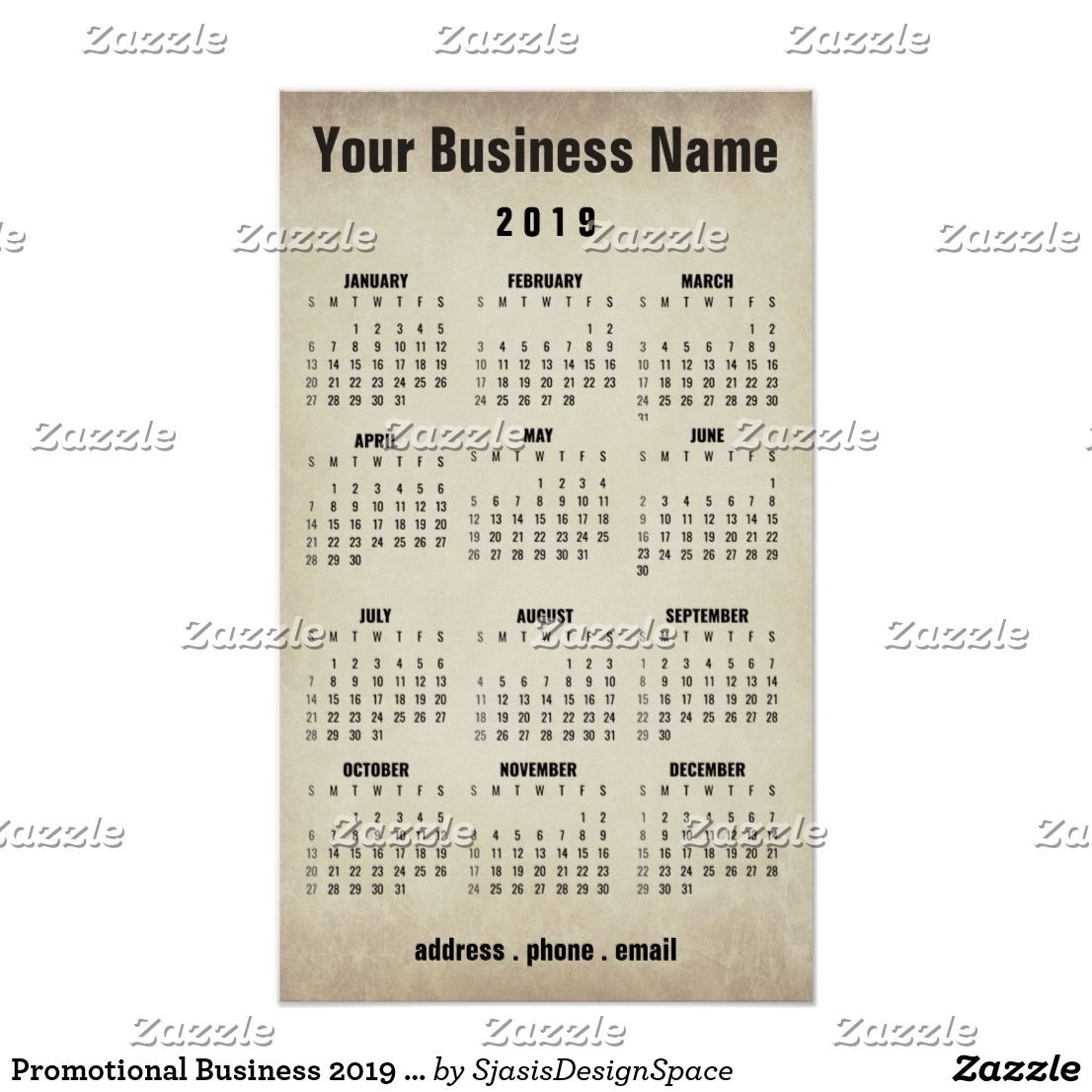 Promotional Business 2019 Wall Calendar Poster | Zazzle with regard to Promotional One Page Year Calendars 8.5 X 11