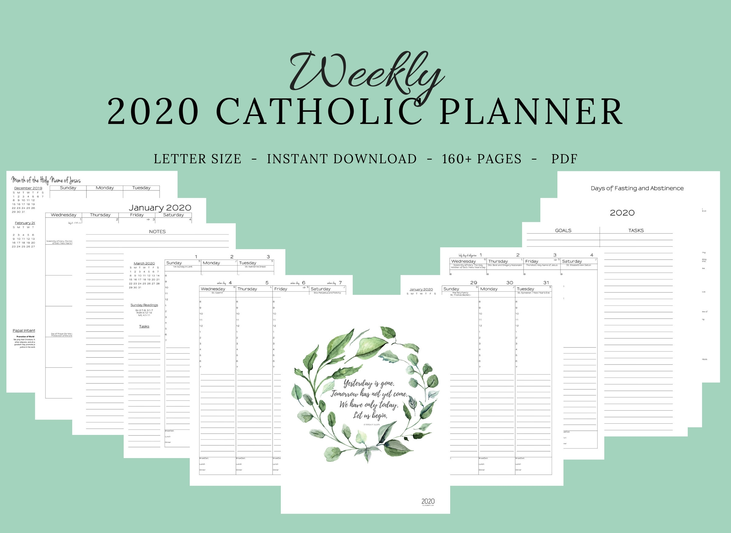 Reserved Listing* Custom 2020 Catholic Planner Weekly Printable: January  -June pertaining to Catholic Extension Calendar 2020 Pdf