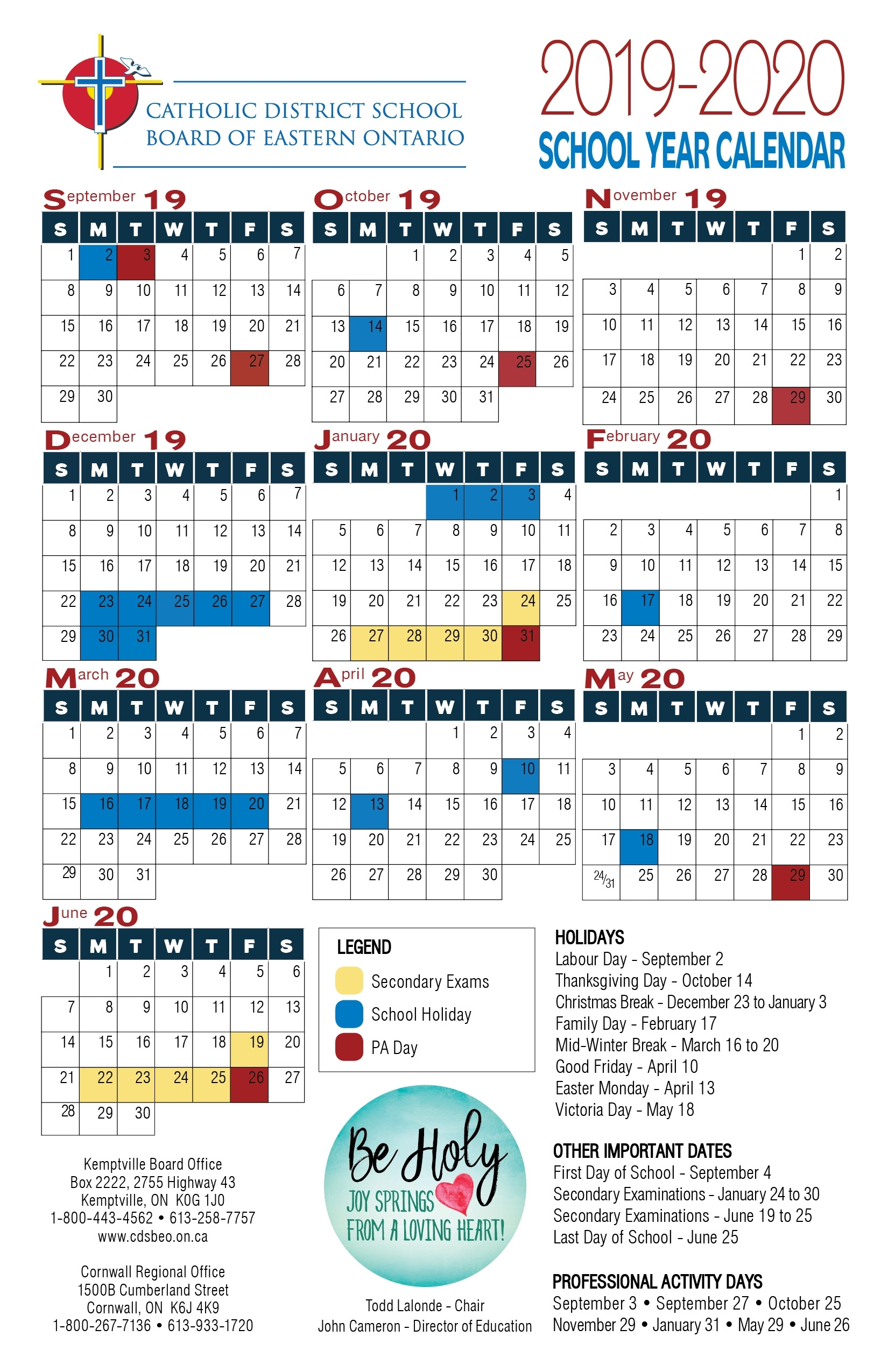 School Year Calendar | Catholic District School Board Of pertaining to Free Weekly Catholic Calendar 2020