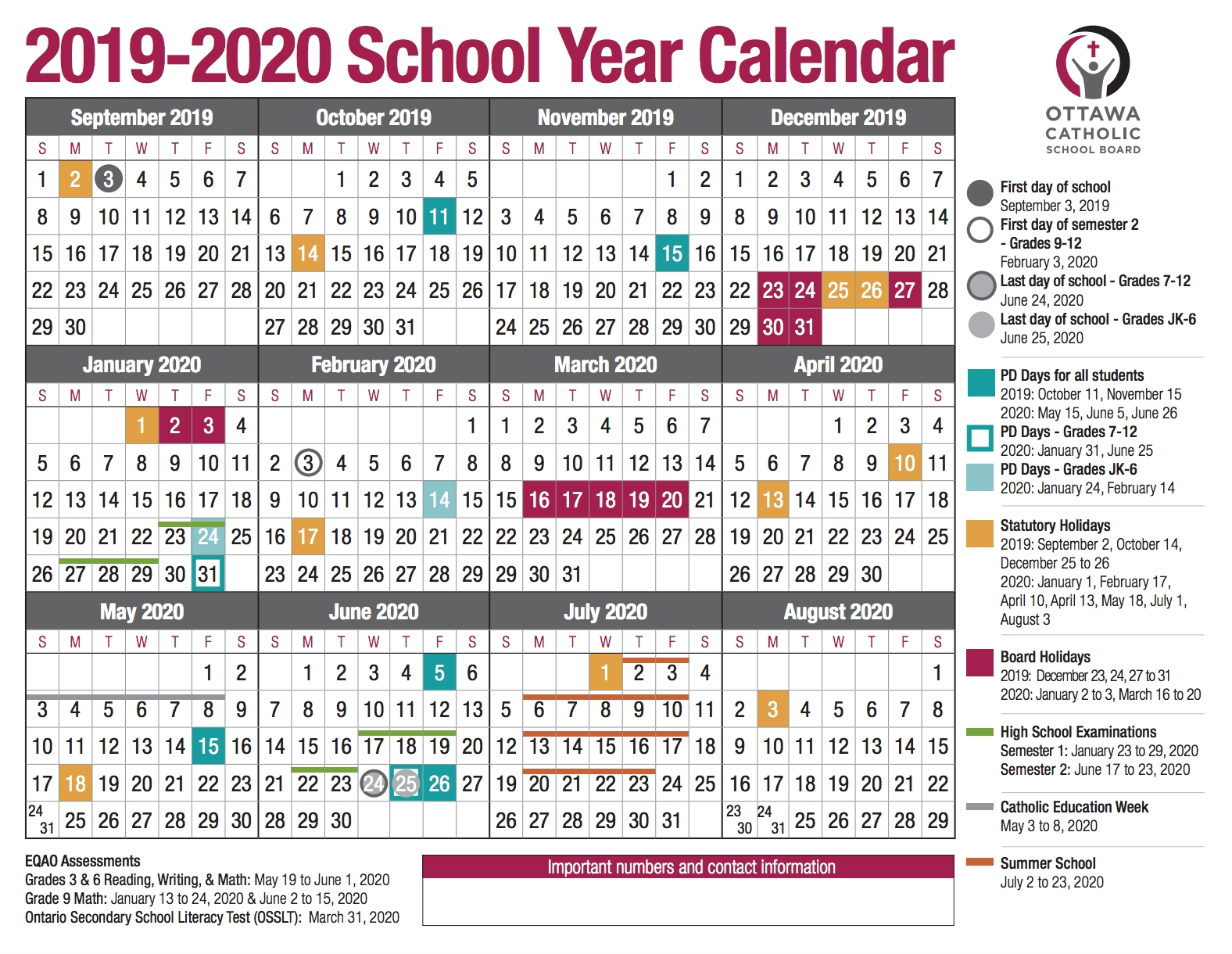 School Year Calendar From The Ocsb regarding Yearly Calendar Of Special Days 2020