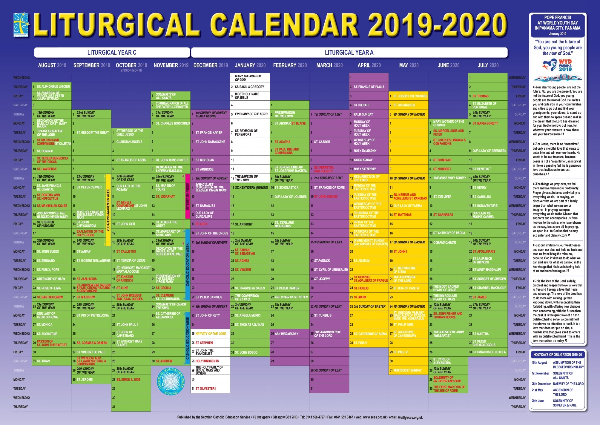 Scottish Catholic Education Service | Sces | Liturgical inside 2020 Catholic Liturgical Calendar Colors