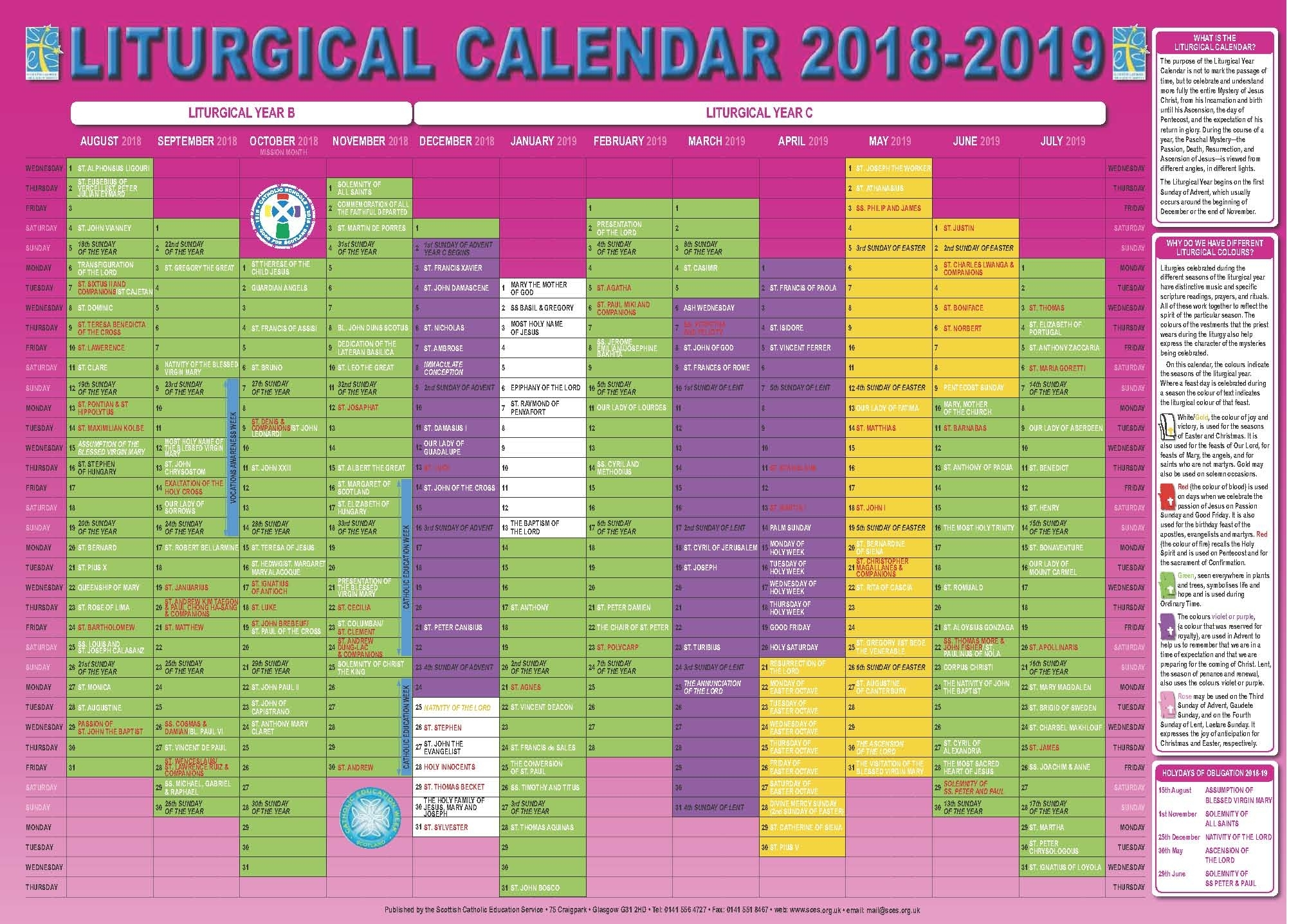 Scottish Catholic Education Service | Sces | Liturgical with Year A Liturgical Calendar 2020