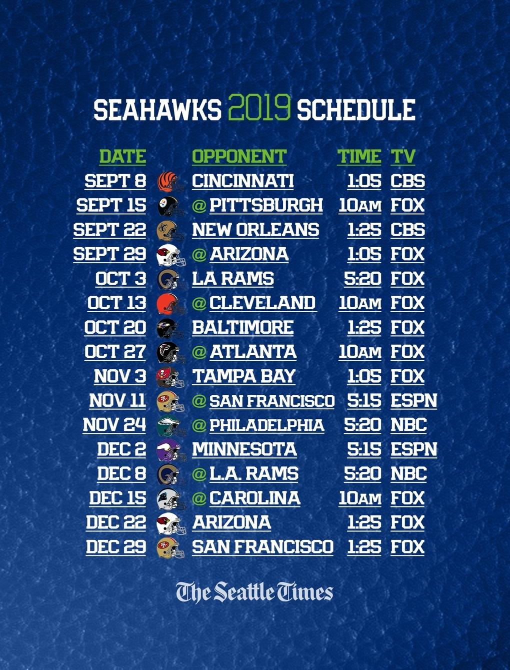 Seahawks 2019 Regular-Season Schedule Is Set — Seattle Will in Printable Nfl Schedule 2019 2020 Season