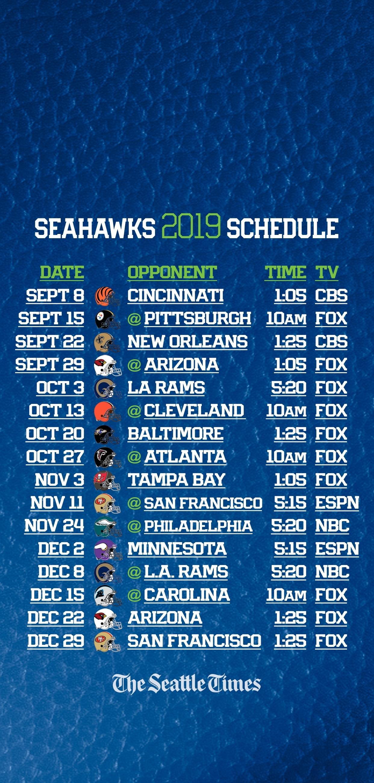 Seahawks 2019 Regular-Season Schedule Is Set — Seattle Will in Seahawks 2019 2020 Schedule Printable