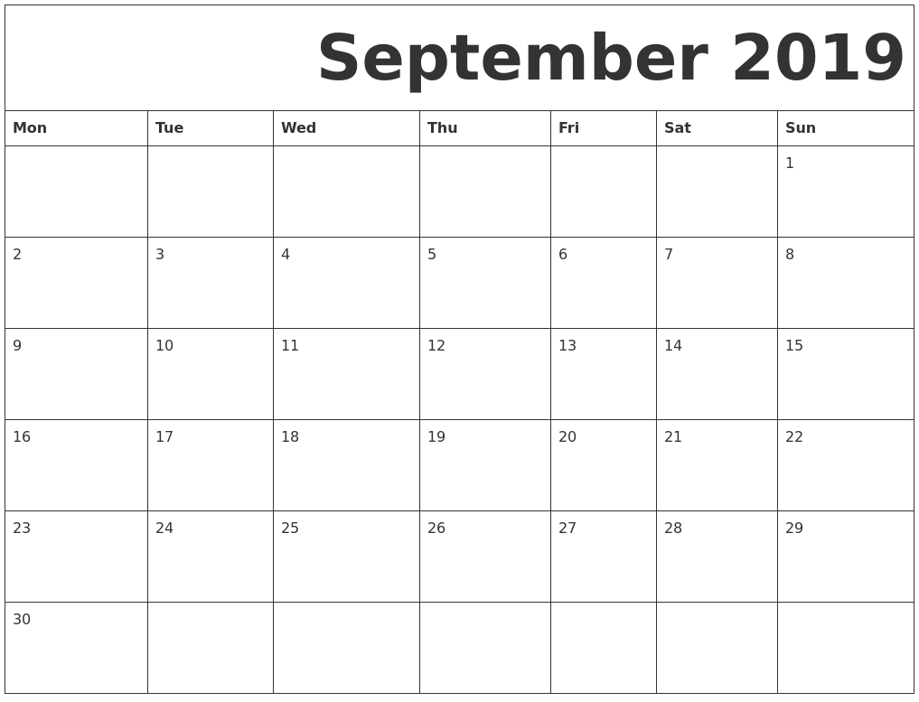 September 2019 Free Printable Calendar intended for Printable Calendar 2019 With Lines