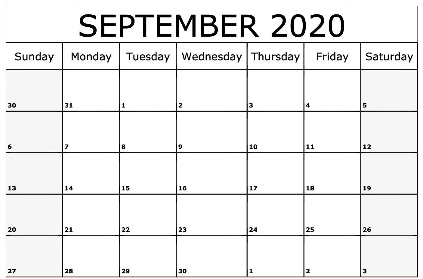 September 2020 Calendar Printable Template | Printable throughout Calendar September 2020 Start Monday Printable Free