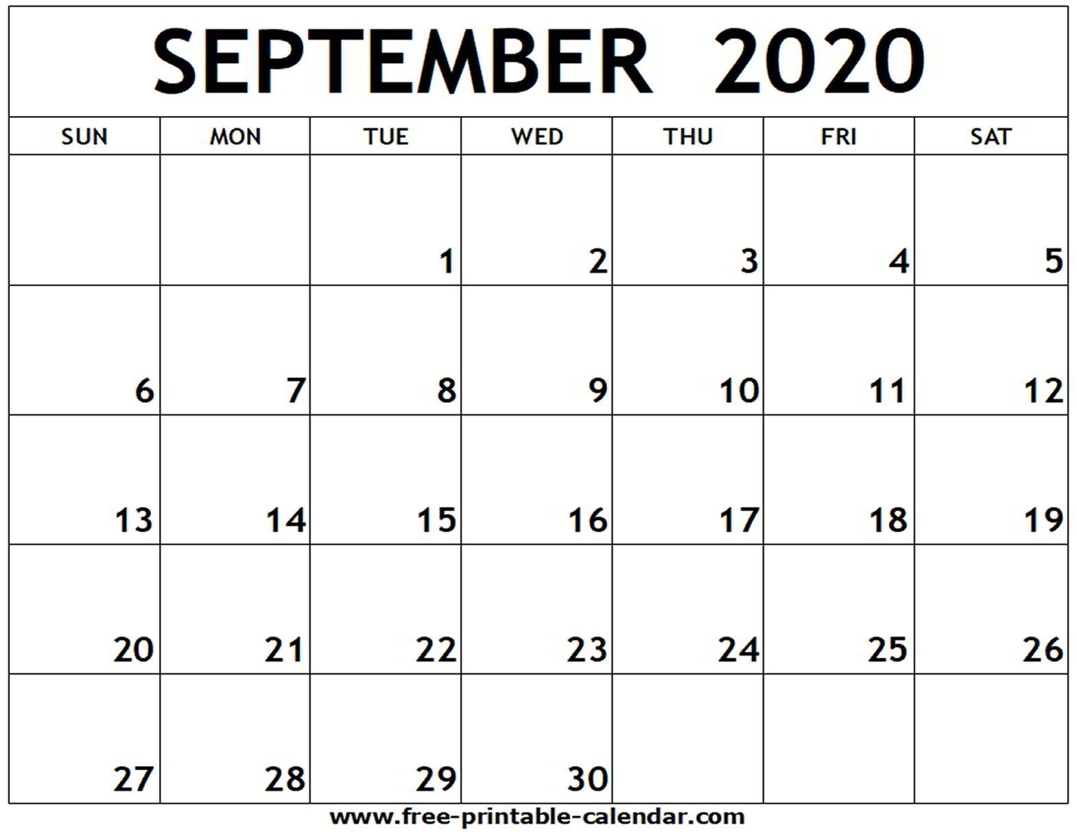 September 2020 Printable Calendar - Free-Printable-Calendar within Calendar September 2020 Start Monday Printable Free