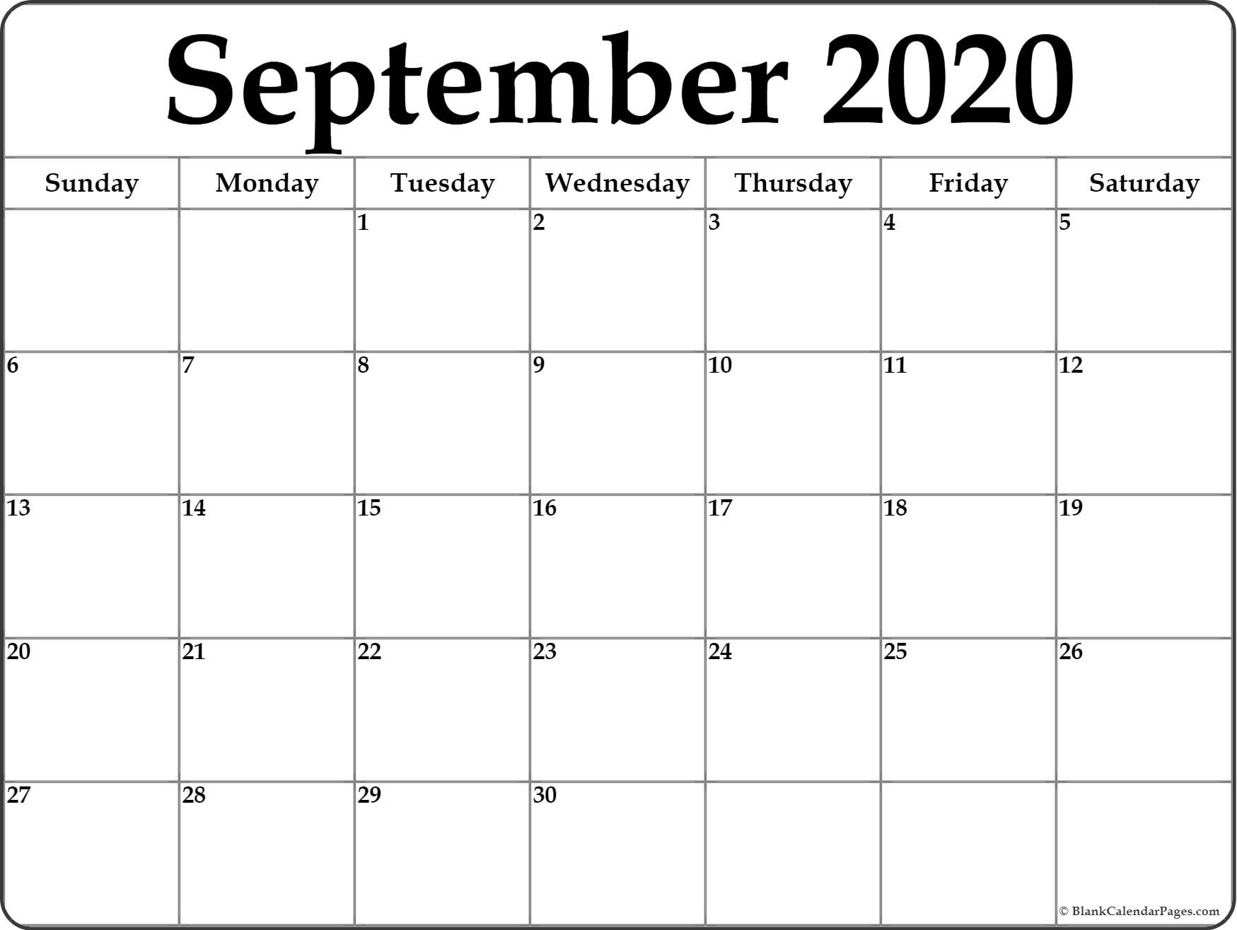 September Monthly Calendar 2020 - Colona.rsd7 pertaining to Printable Calendar 2020 Monthly Free
