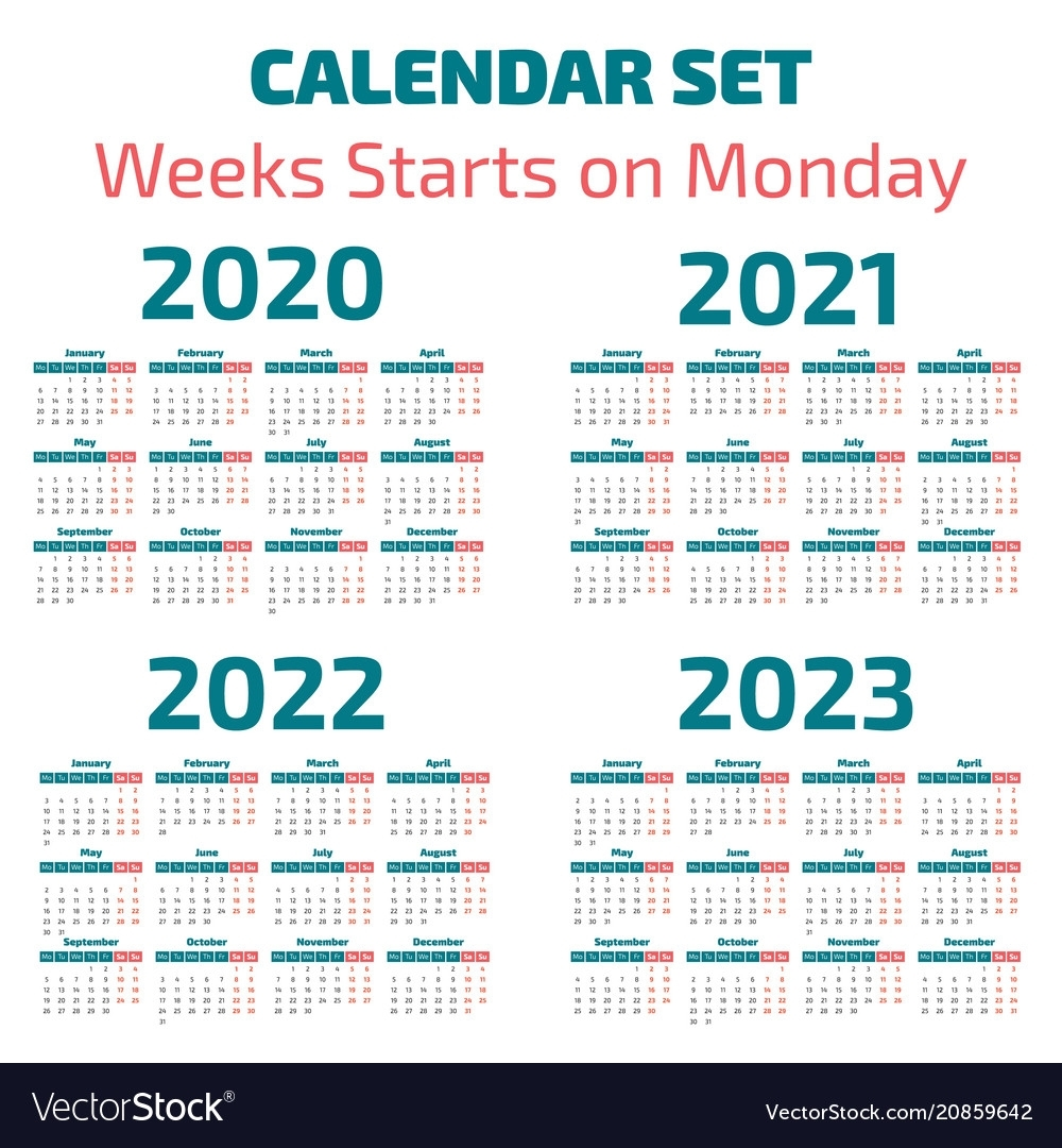 Simple 2020-2023 Years Calendar for Calendar For 2020 To 2023