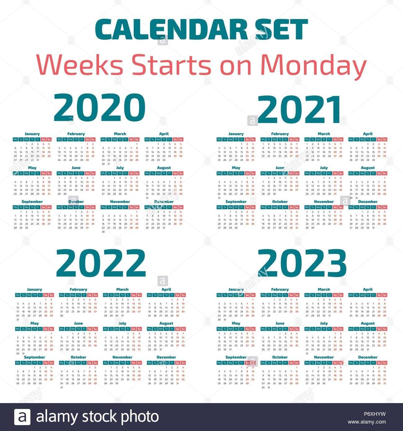 Simple 2020-2023 Years Calendar, Week Starts On Monday Stock with Calendar For 2020 To 2023
