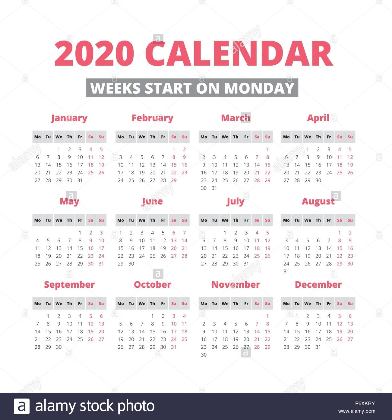 Simple 2020 Year Calendar, Week Starts On Monday Stock with regard to 2020 Calendars With Week Starting Mondays
