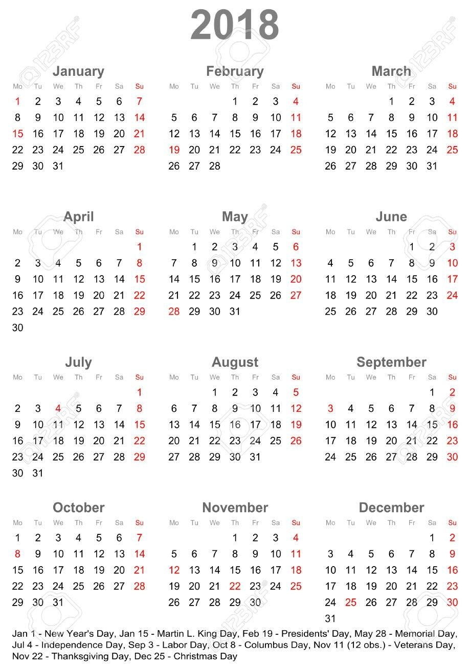 Simple Calendar 2018 - One Year At A Glance - Starts Monday With.. with regard to Year At A Glace Calendar