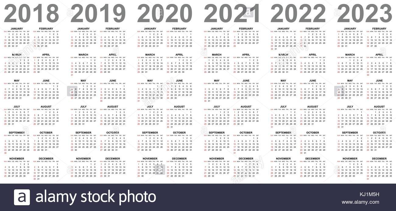 Simple Editable Vector Calendars For Year 2018 2019 2020 regarding Yearly Calendar 2020 2021 2022 2023