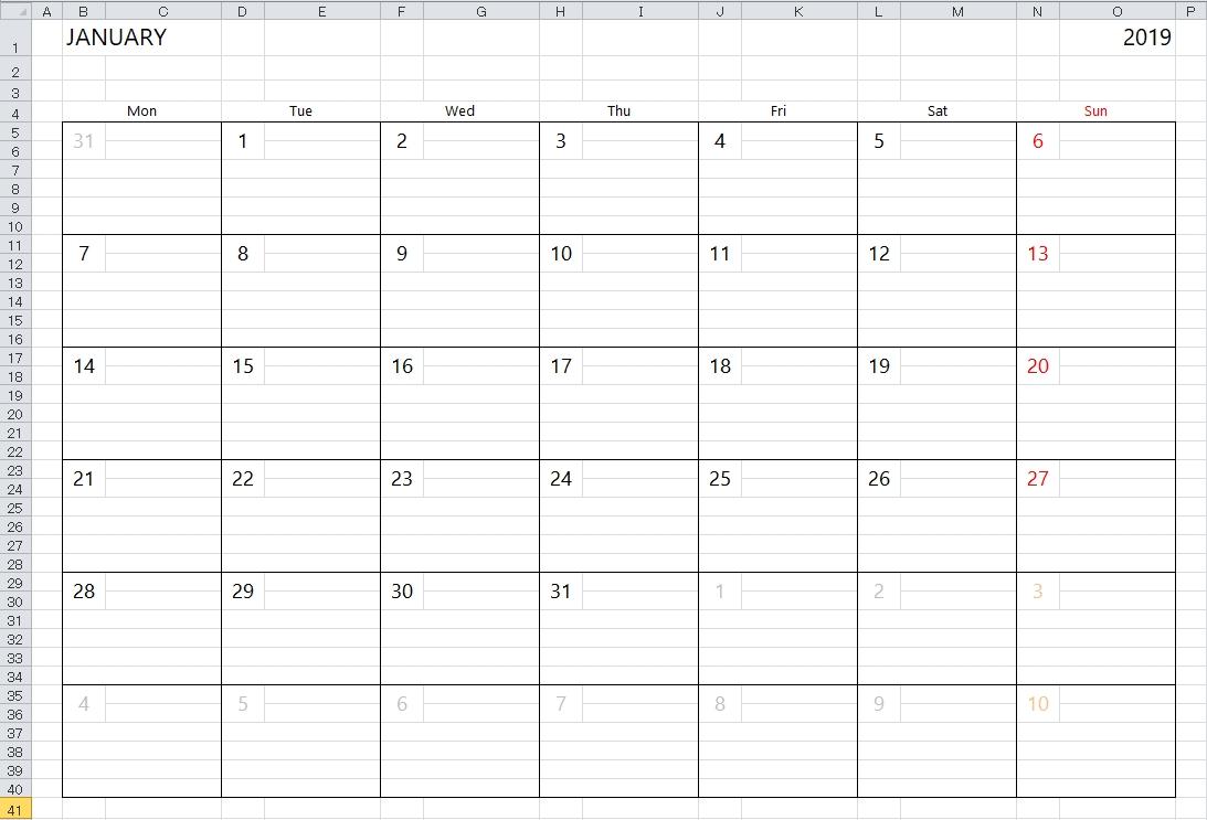 Simple Excel Calendar Template for 2020 Calendar In Excel Formula