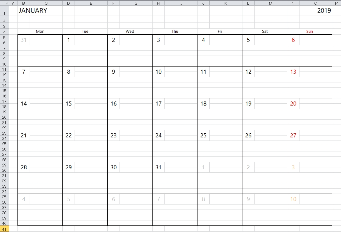 Simple Excel Calendar Template within Printable Calendar 2019 With Lines