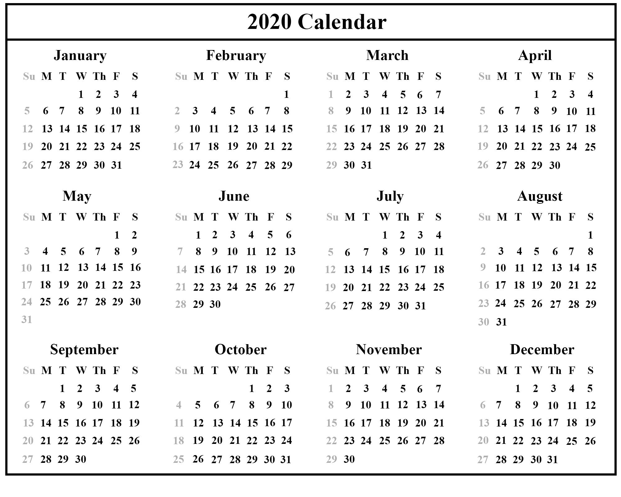 Small Printable 2020 Calendar - Colona.rsd7 with regard to Calendar 12-Com 2020 Monday Start
