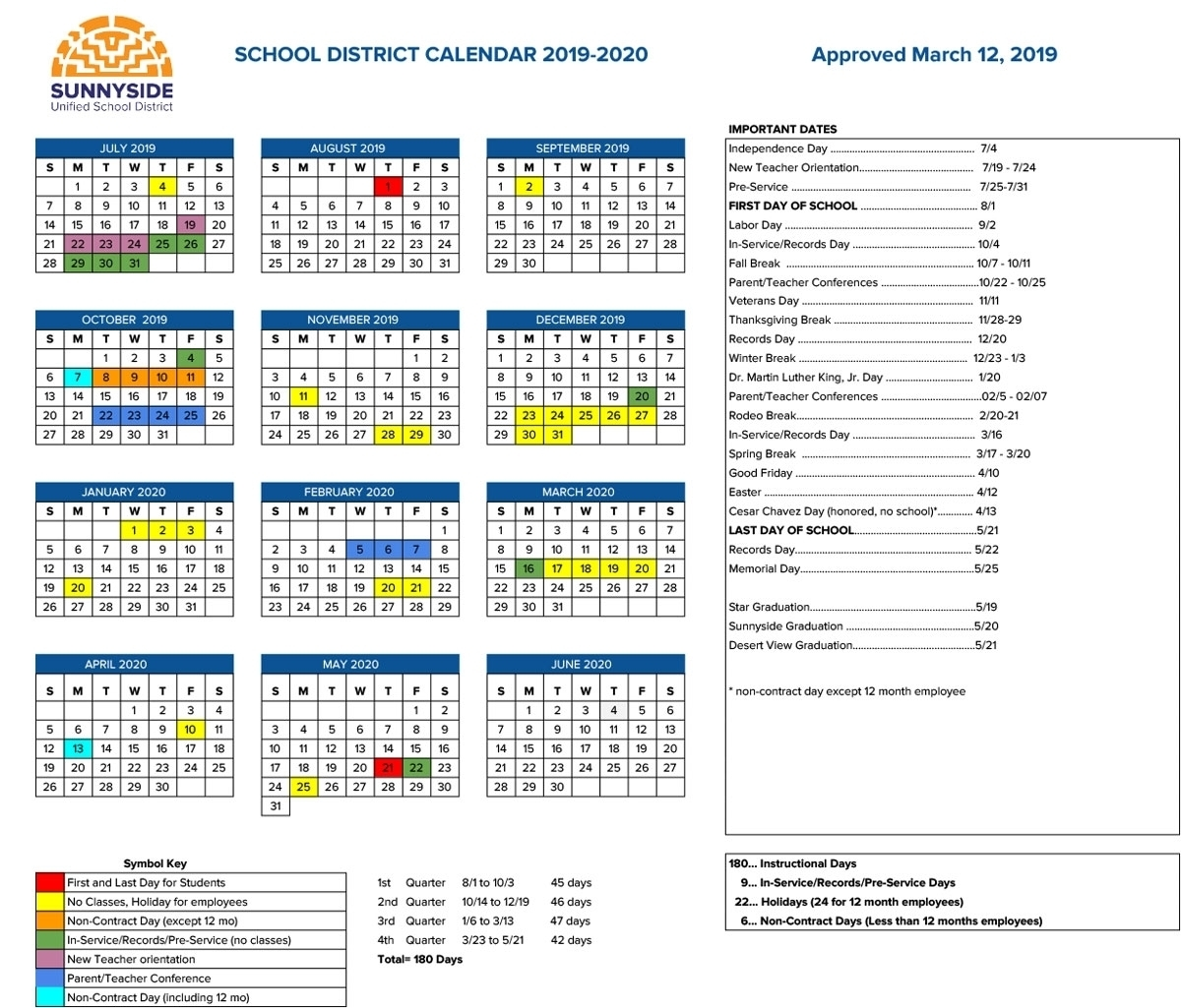 Special Days In The School Year 2019-2020 - Calendar throughout Special Days By Month In 2020