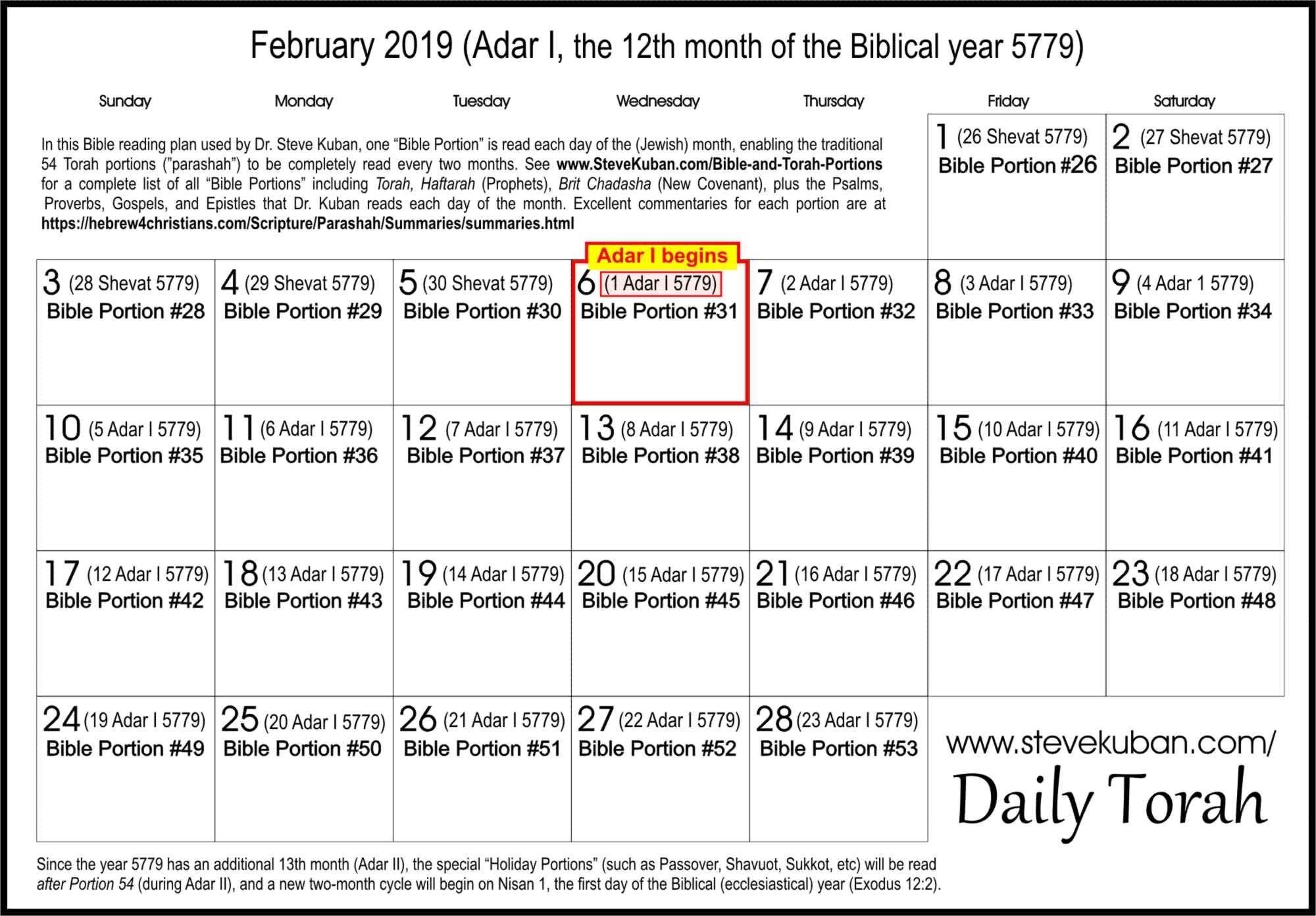 Steve Kuban - Daily Torah in Weekly Torah Reading Portions Calendar