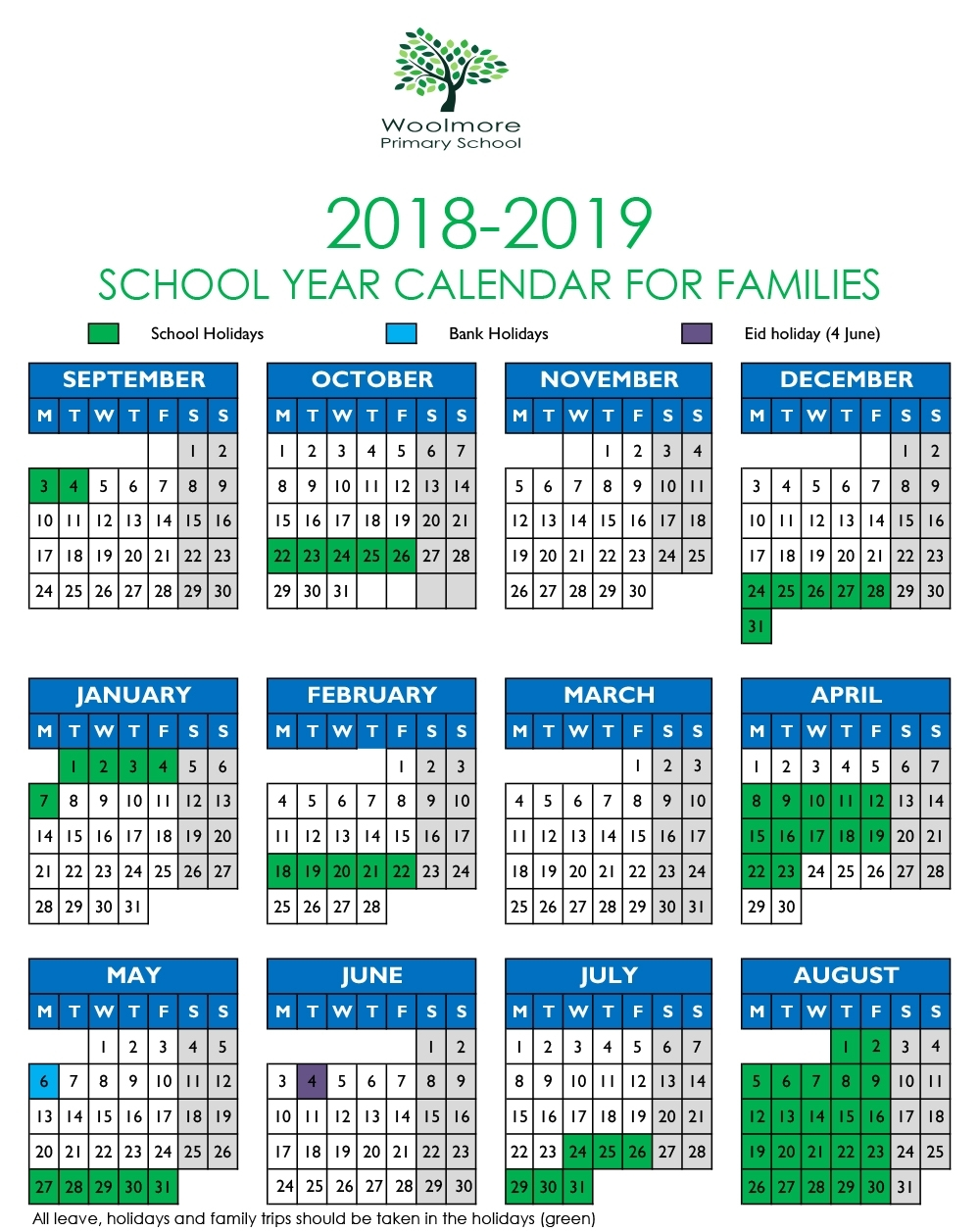 Term Dates 2018-19 | Woolmore Primary School inside Pshe Special Days Calendar 2019/2020