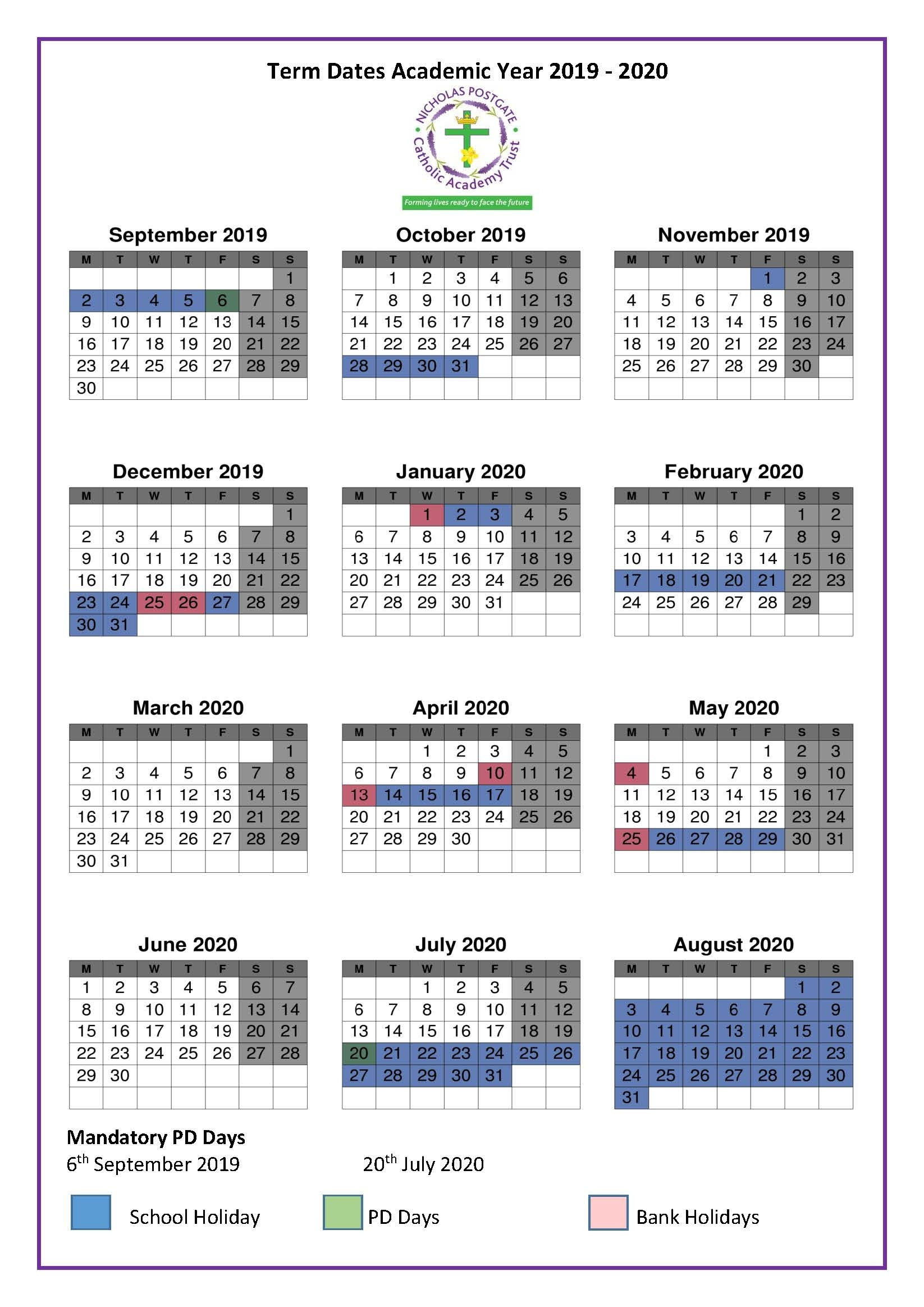 Term Dates 2019-2020 | St. Edward's Catholic Primary School within Pshe Special Days Calendar 2019/2020